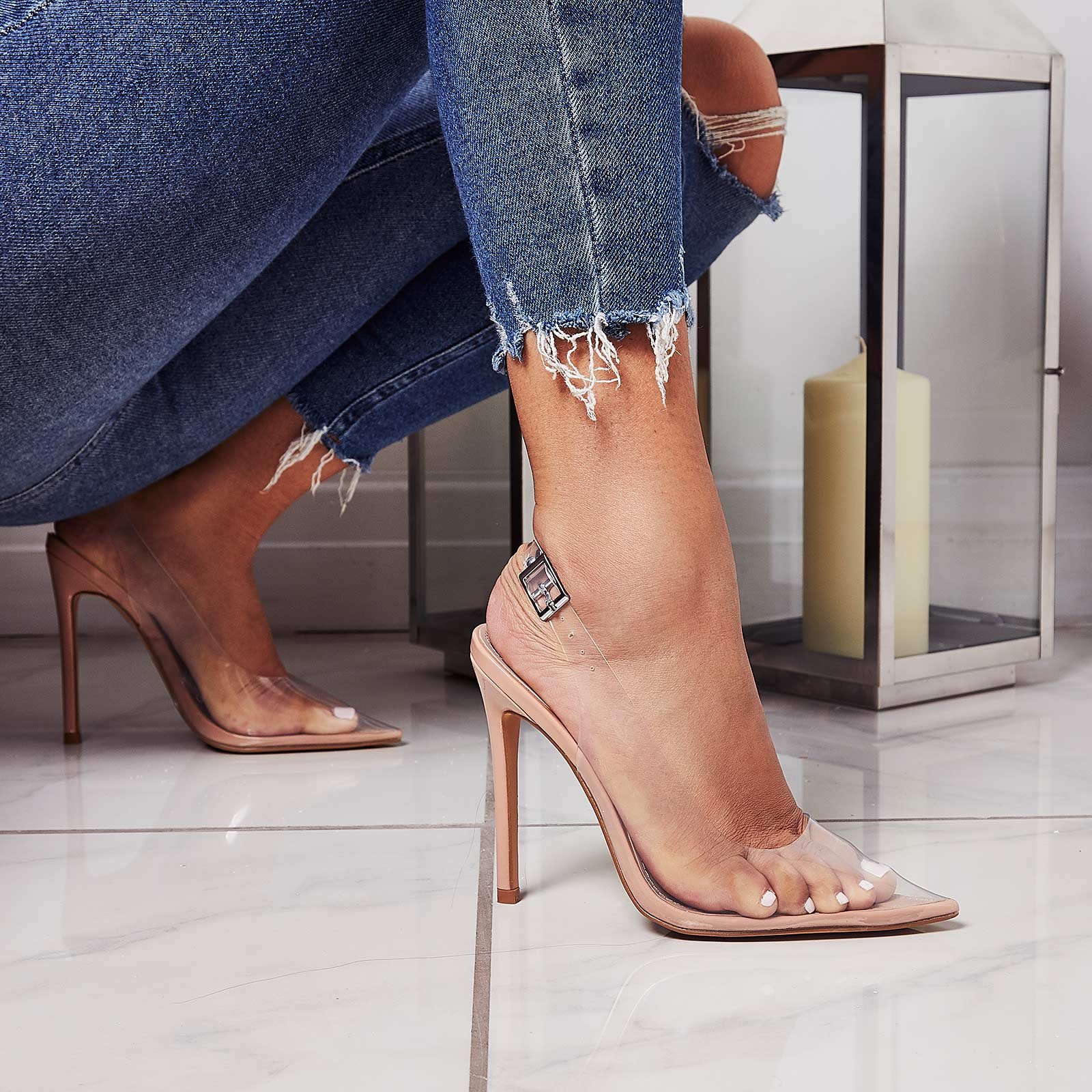 Seamless Perspex Heel In Nude Patent