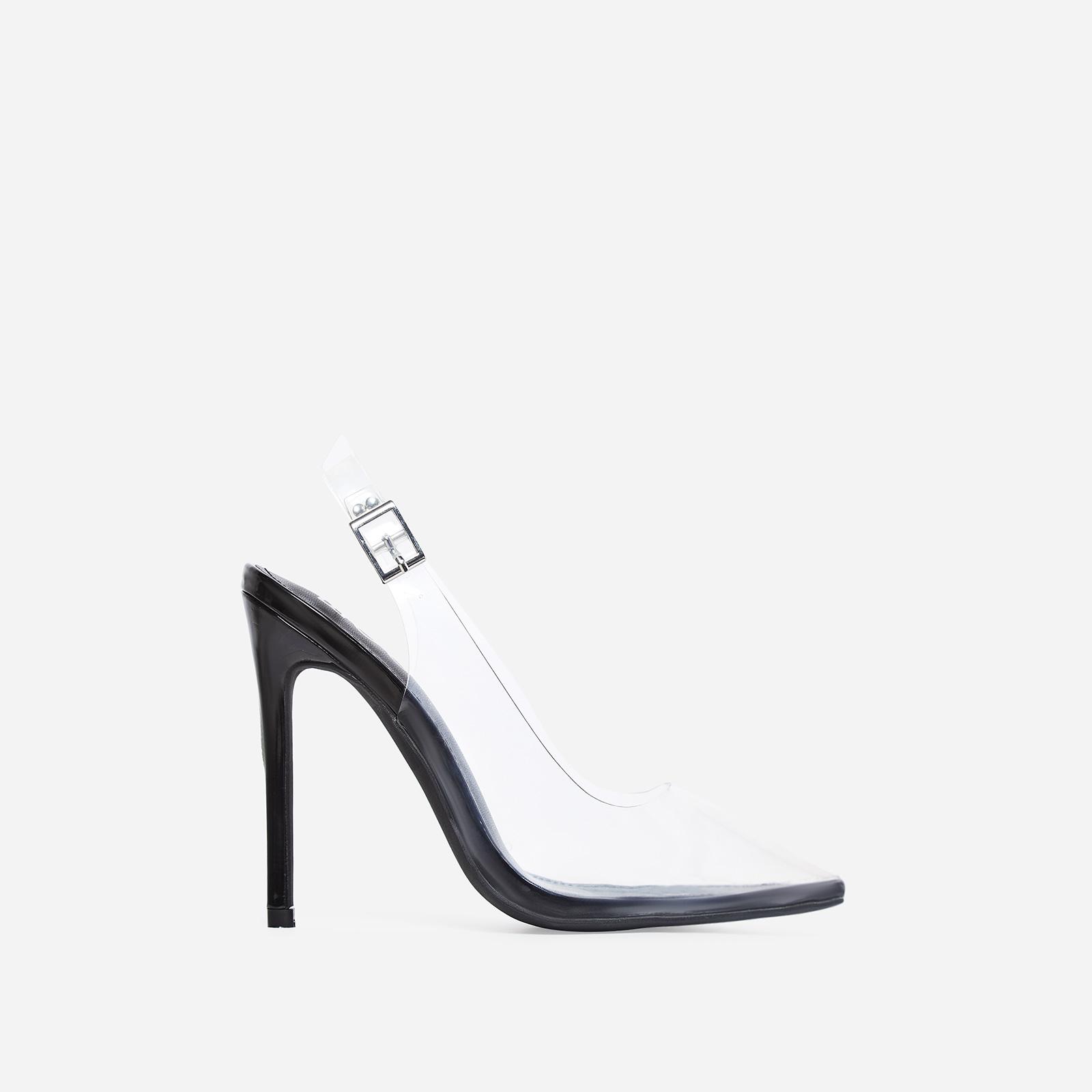 Seamless Perspex Heel In Black Patent