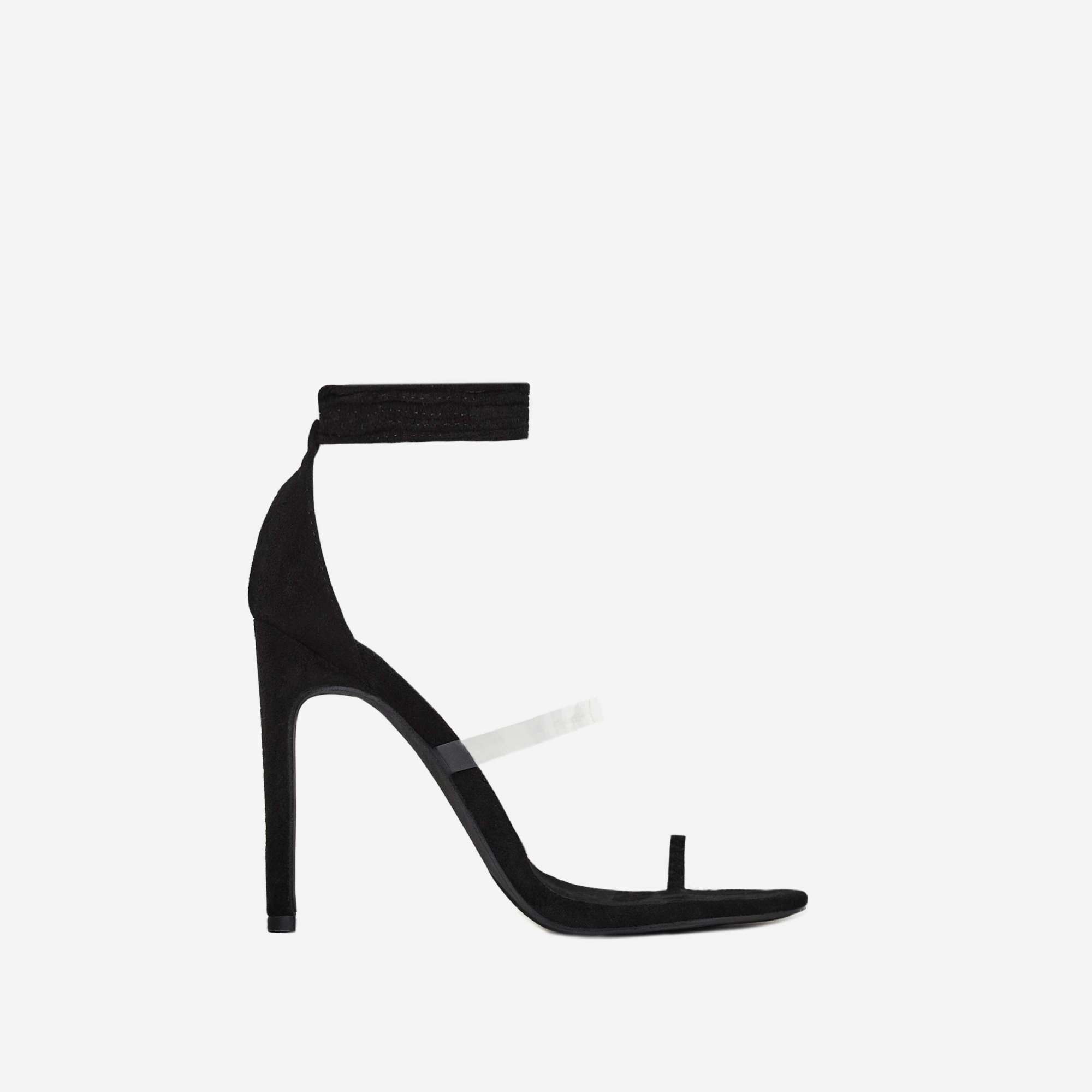 Sencha Perspex Lace Up Toe Strap Heel In Black Faux Suede