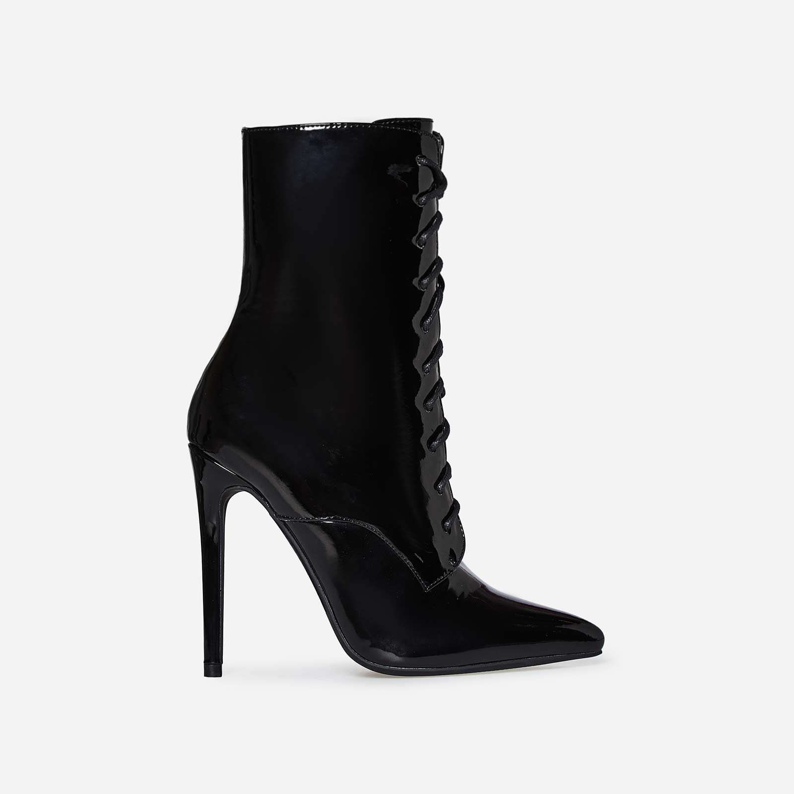 Shanty Lace Up Ankle Boot In Black Patent