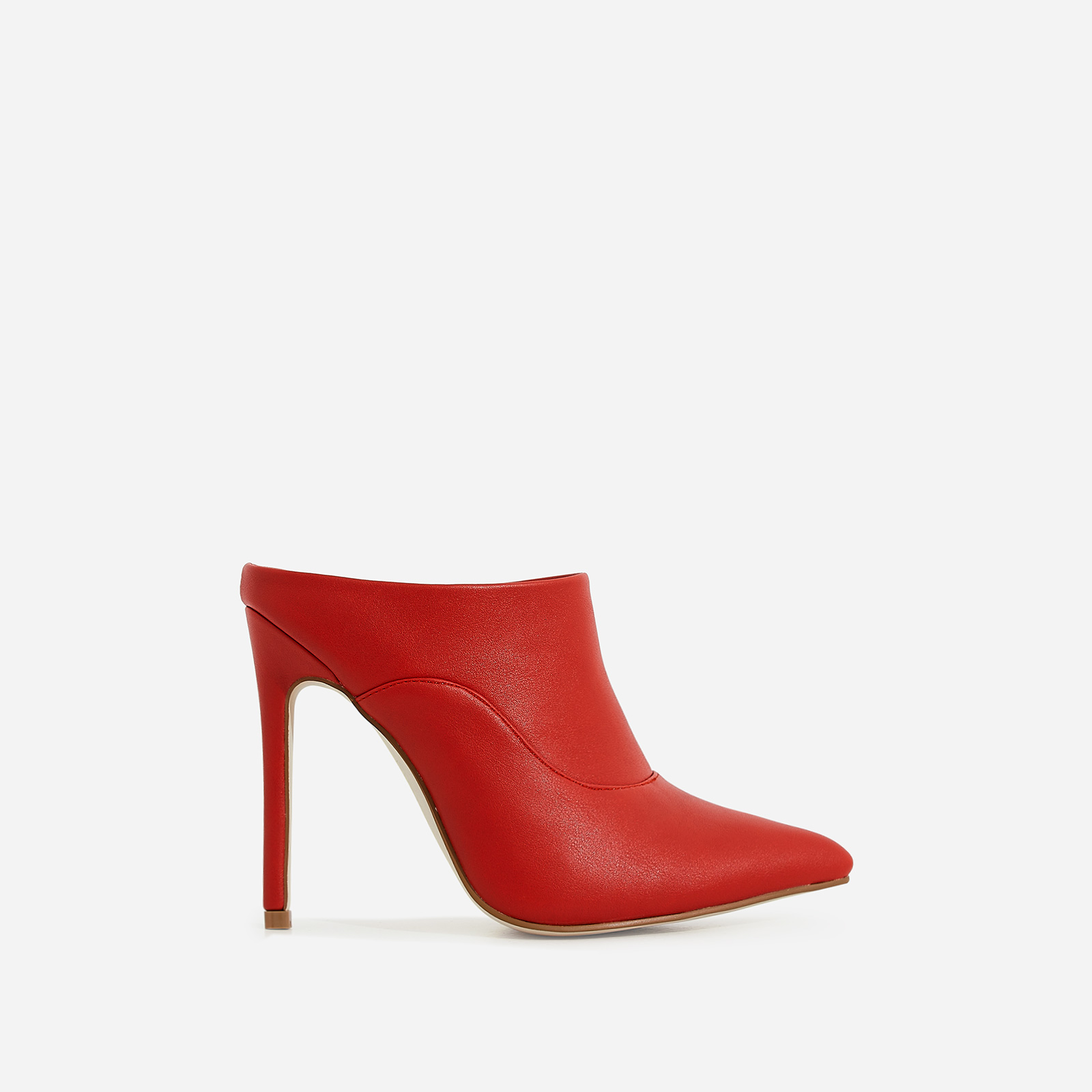 Sheena Pointed Toe Heel Mule In Red Faux Leather