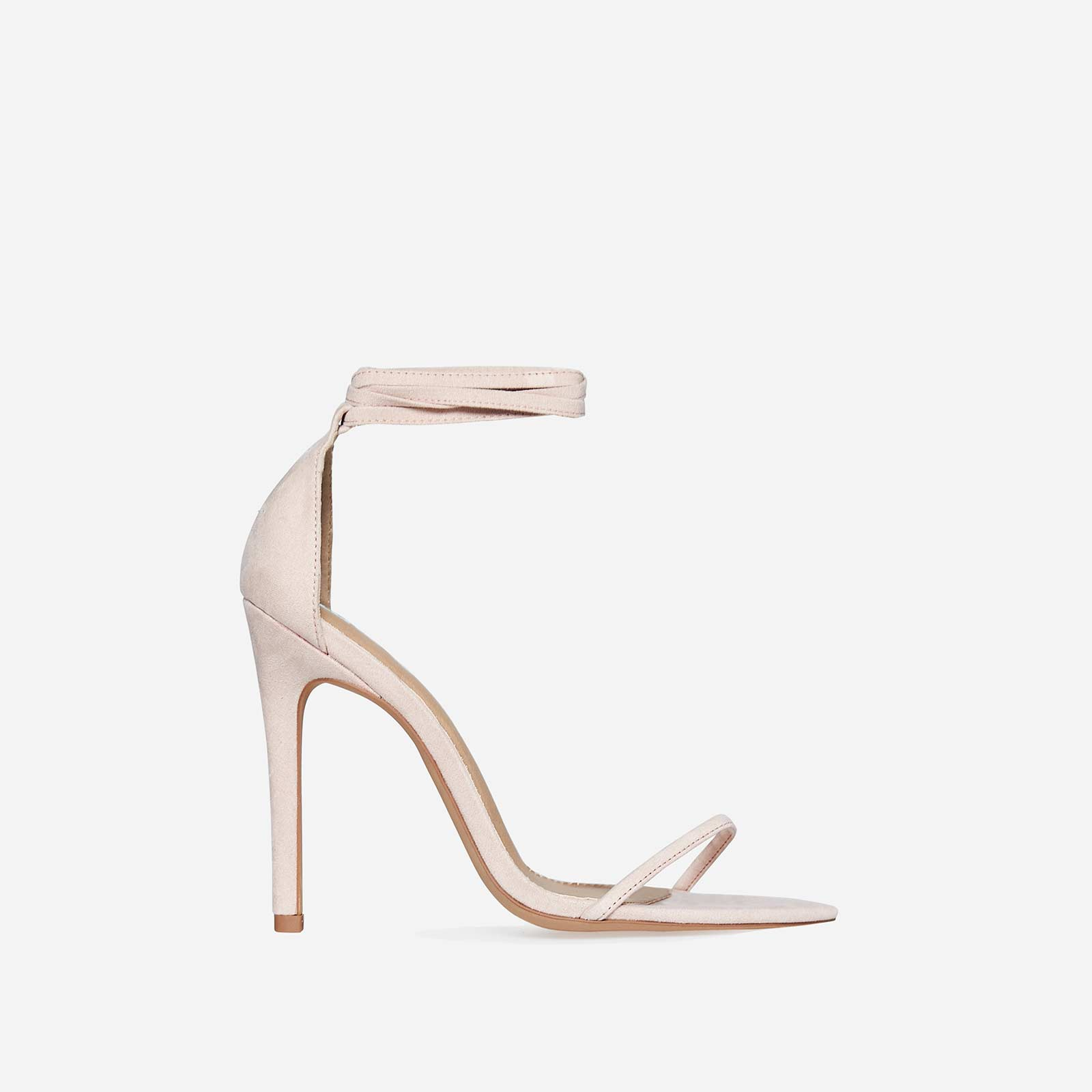 Ralley Lace Up Pointed Barely There Heel In Nude Faux Suede