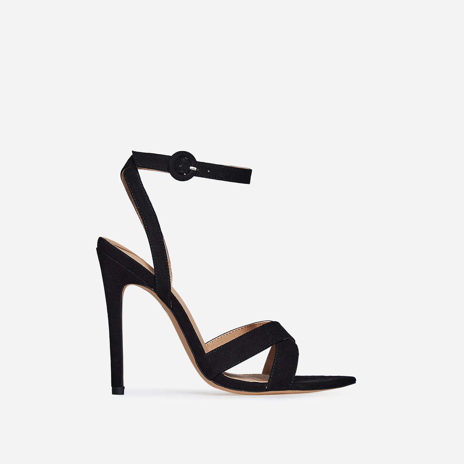 Marnie Pointed Barely There Heel In Black Faux Suede
