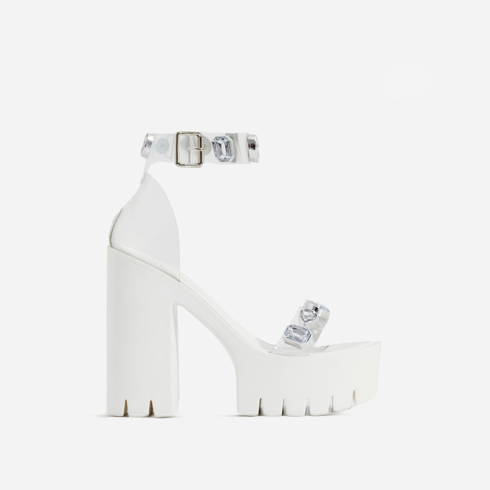 Shook Jewel Embellished Perspex Platform Cleated Sole Block Heel In White