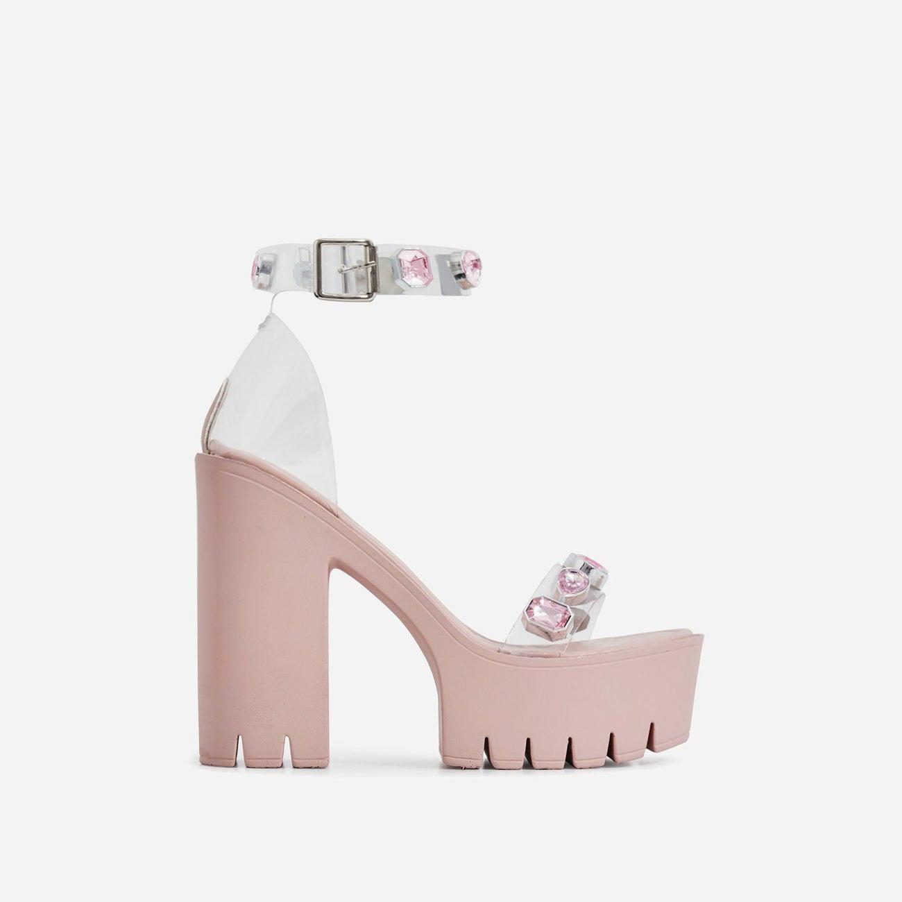 Shook Jewel Embellished Perspex Platform Cleated Sole Block Heel In Pink