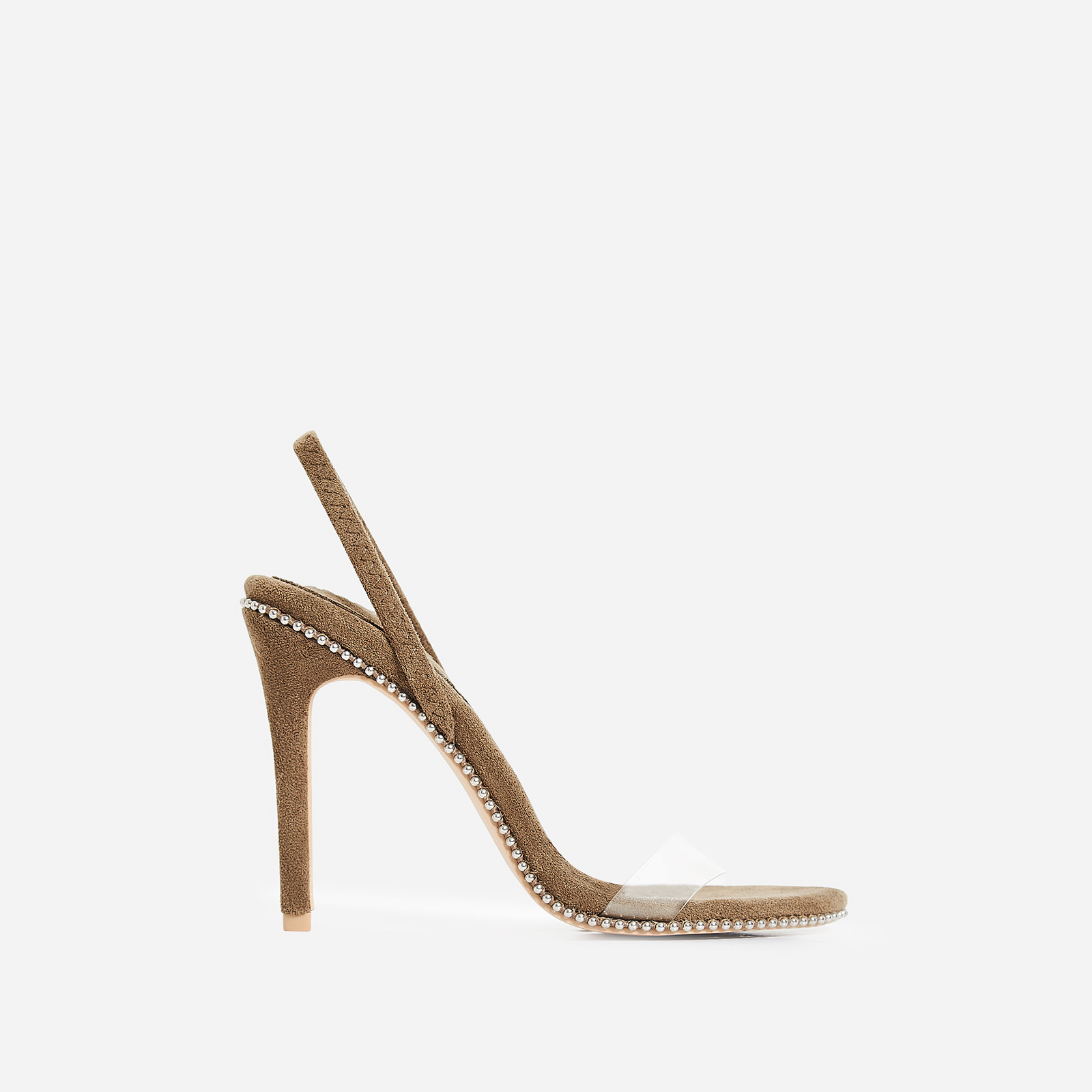 Sickening Studded Detail Perspex Heel In Khaki Faux Suede
