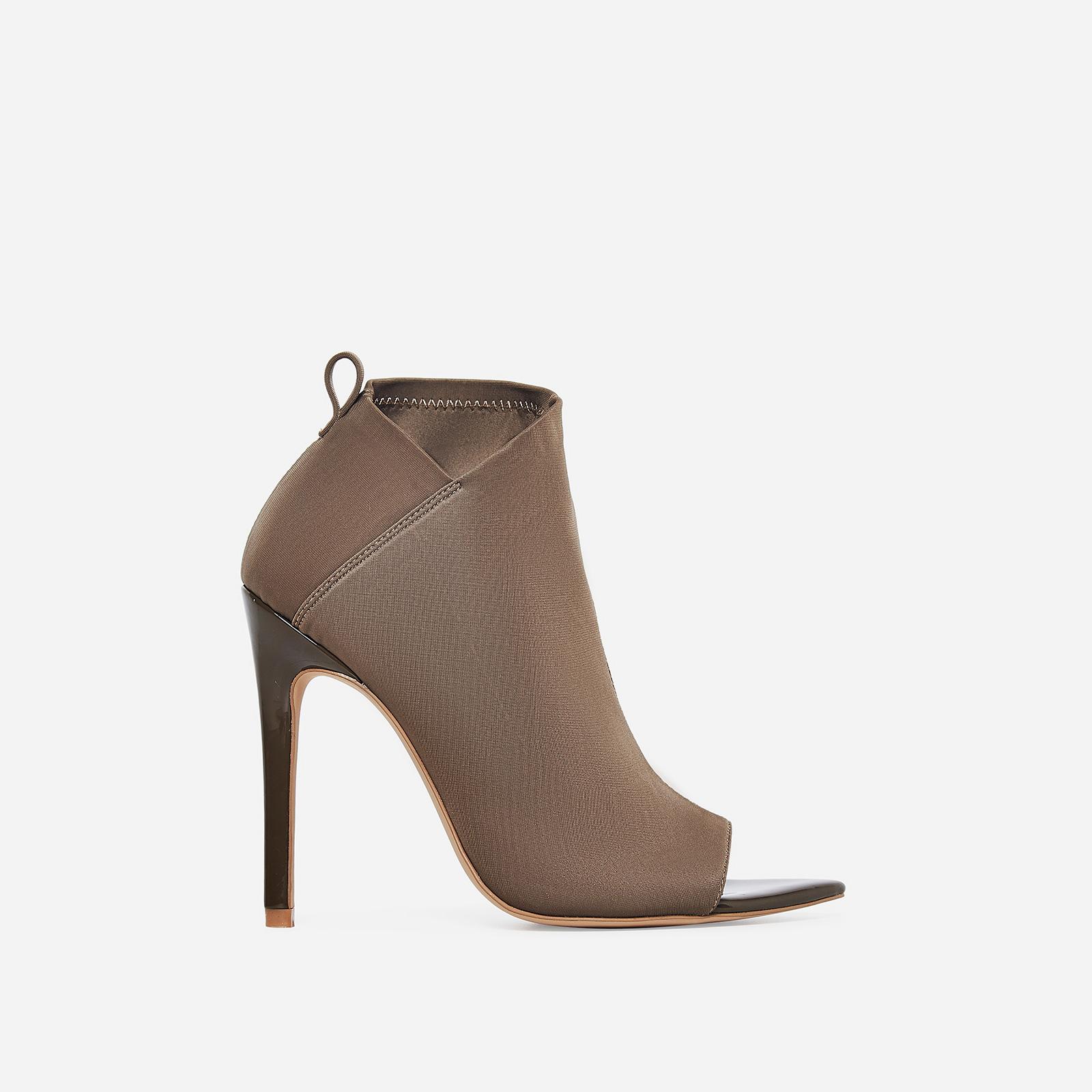 Silva Pointed Peep Toe Ankle Sock Boot In Khaki Lycra