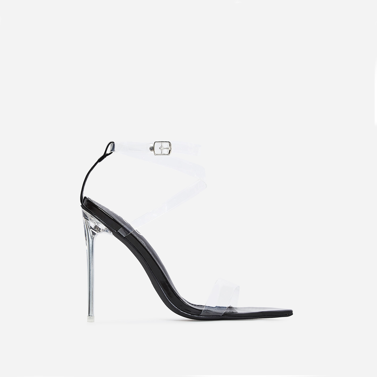 Skin Barely There Perspex Heel In Black Patent