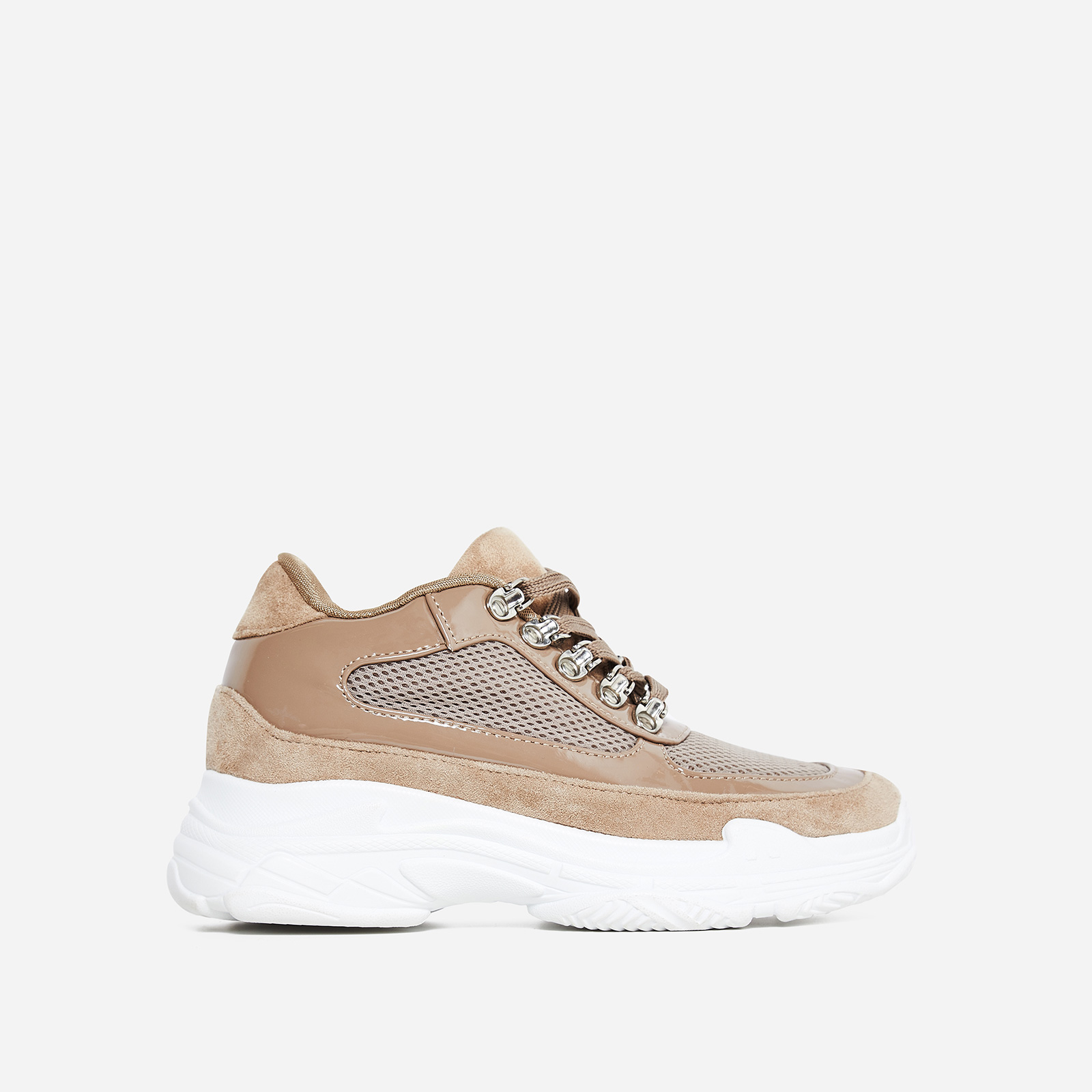 Cass Mesh Detail Trainer In Nude Faux Suede And Patent