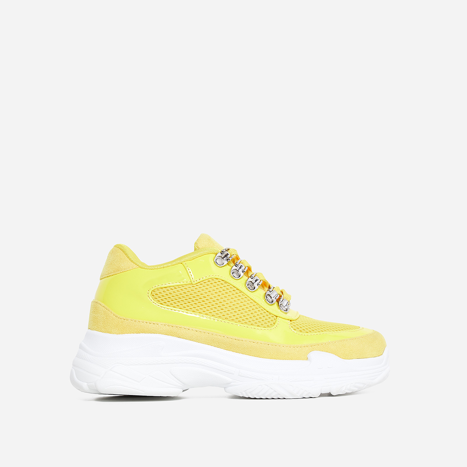 Cass Mesh Detail Trainer In Yellow Faux Suede And Patent