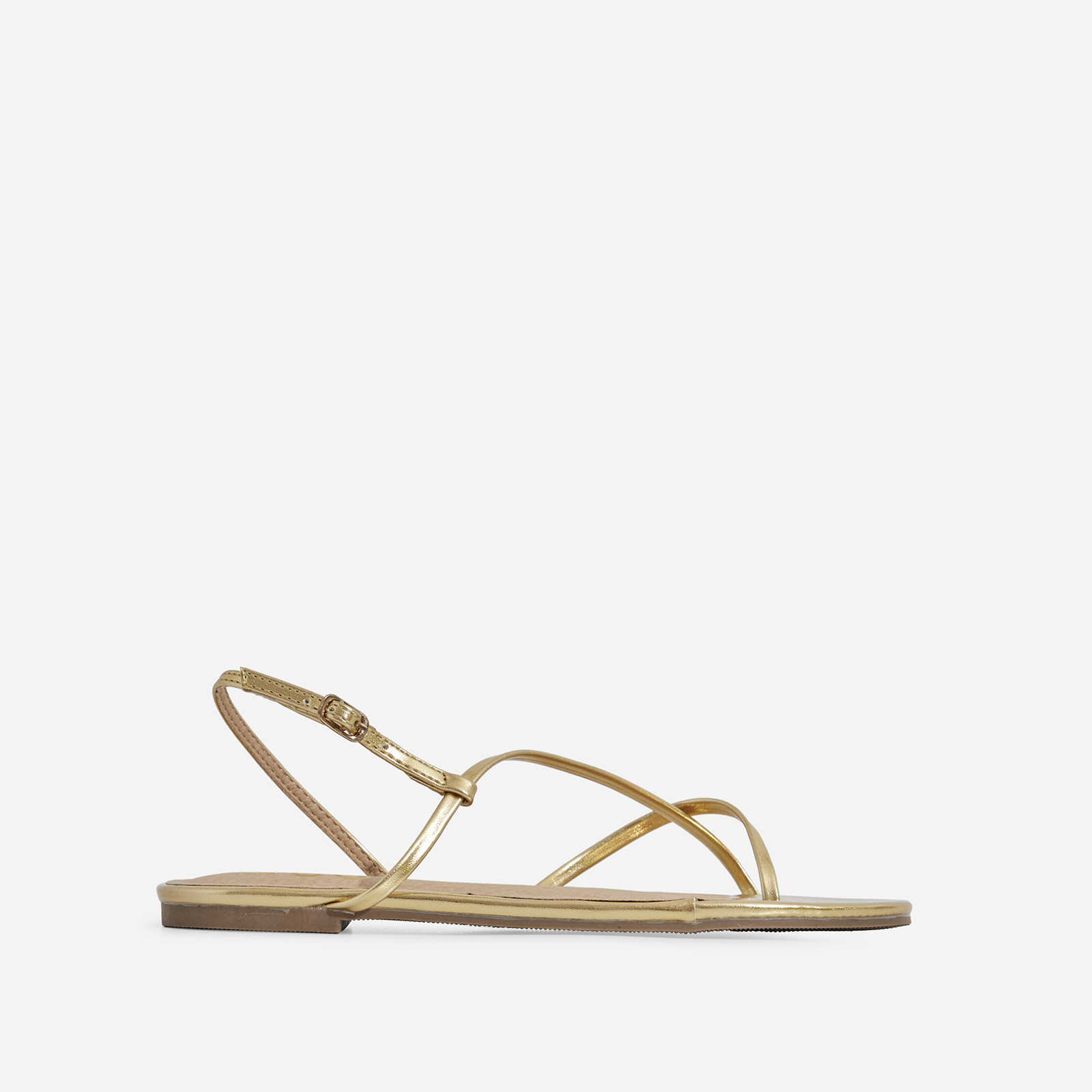 Sofie Toe Strap Sandal In Rose Gold Faux Leather