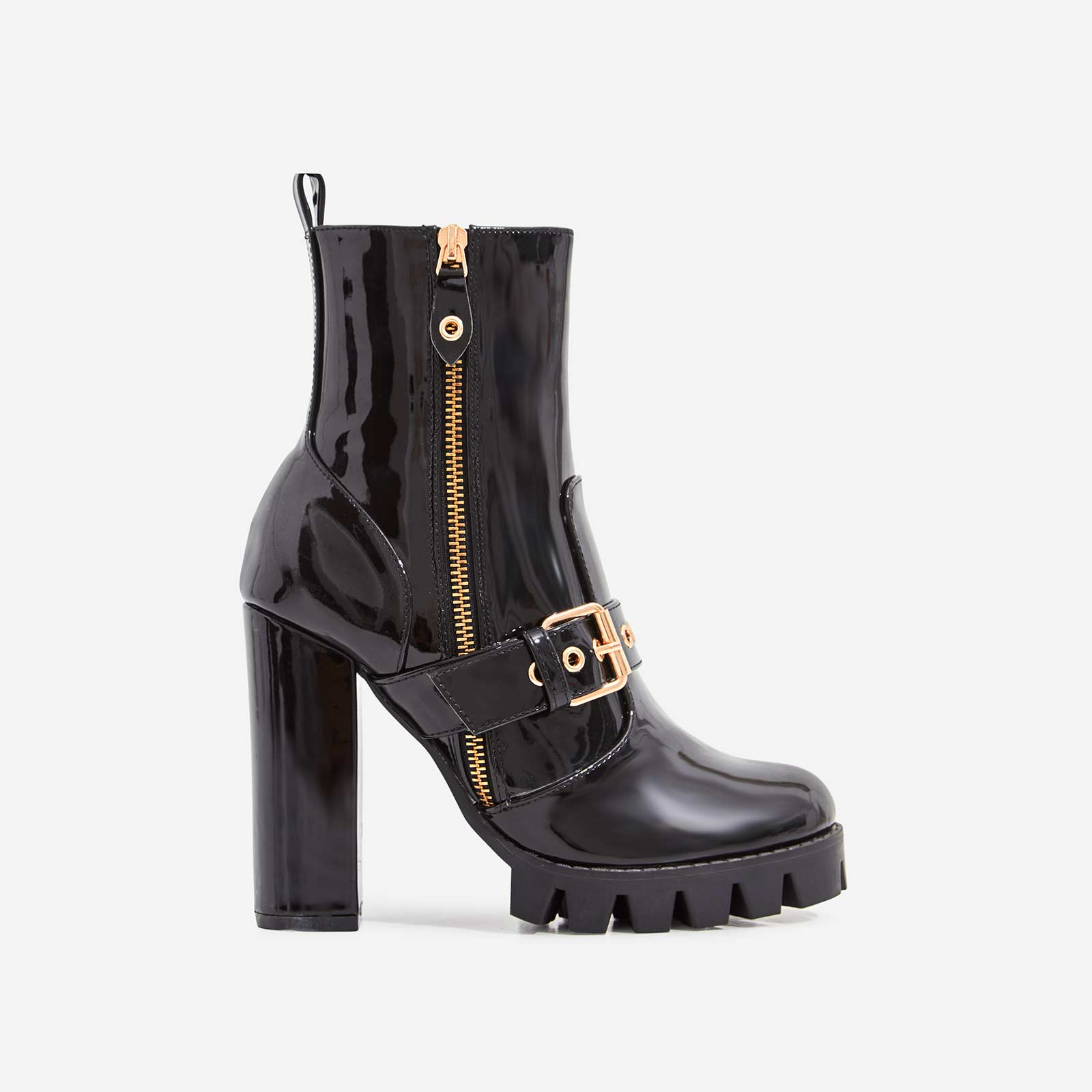 Soho Platform Buckle Detail Ankle Boot In Black Patent