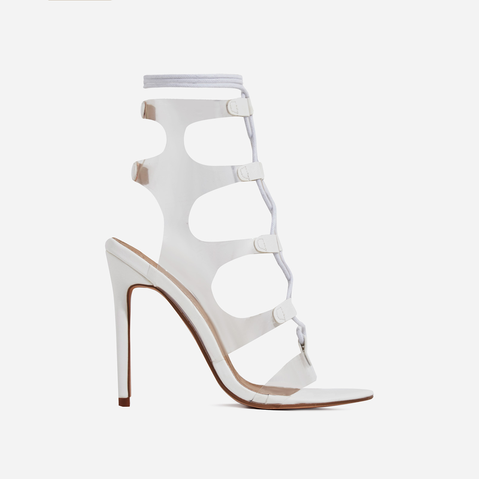 Solstice Lace Up Perspex Heel In White Faux Leather