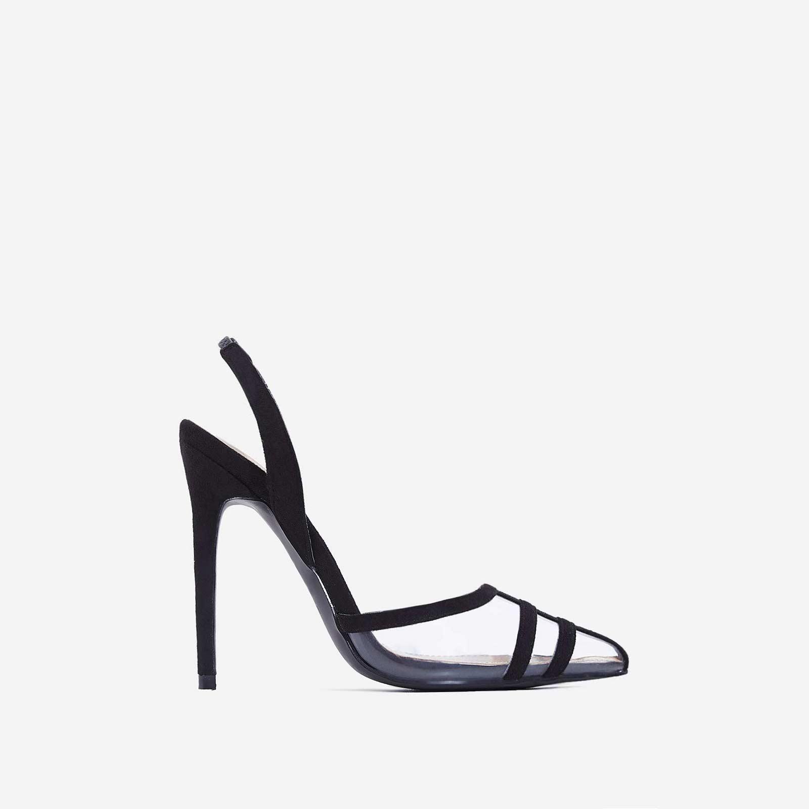 Sophie Slip Back Perspex Heel In Black Faux Suede