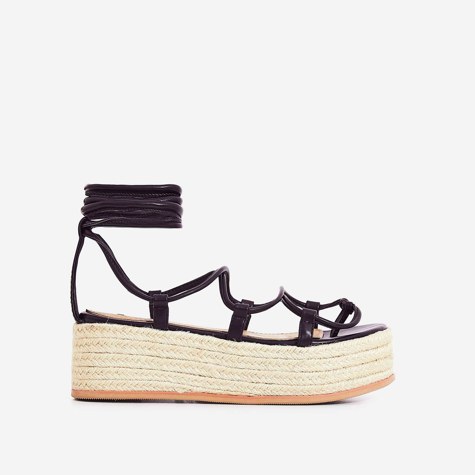 e9a5ec8c5625 Sophina Lace Up Espadrille Flatform Sandal In Black Faux Leather