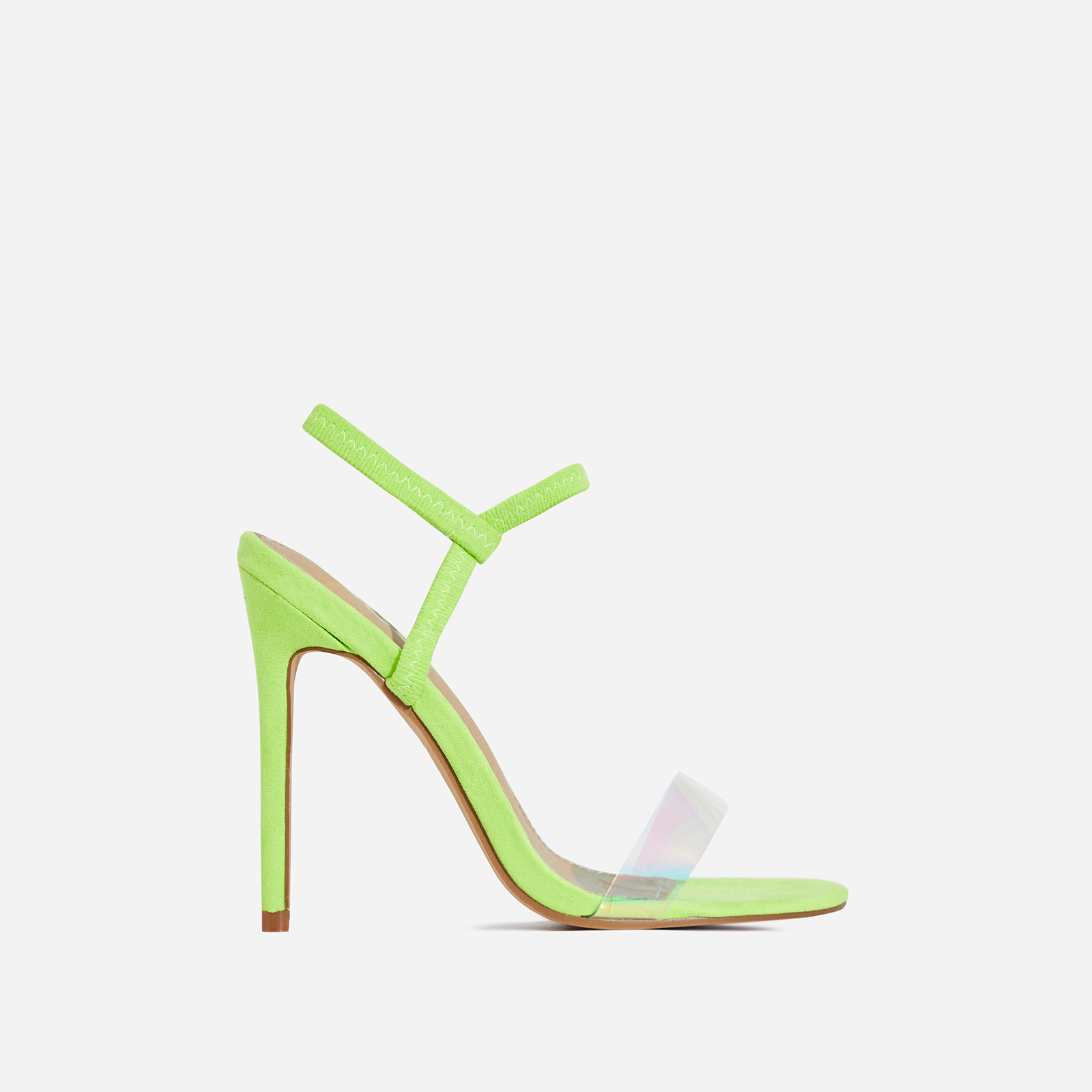 Soul Clear Perspex Square Toe Heel In Lime Faux Suede