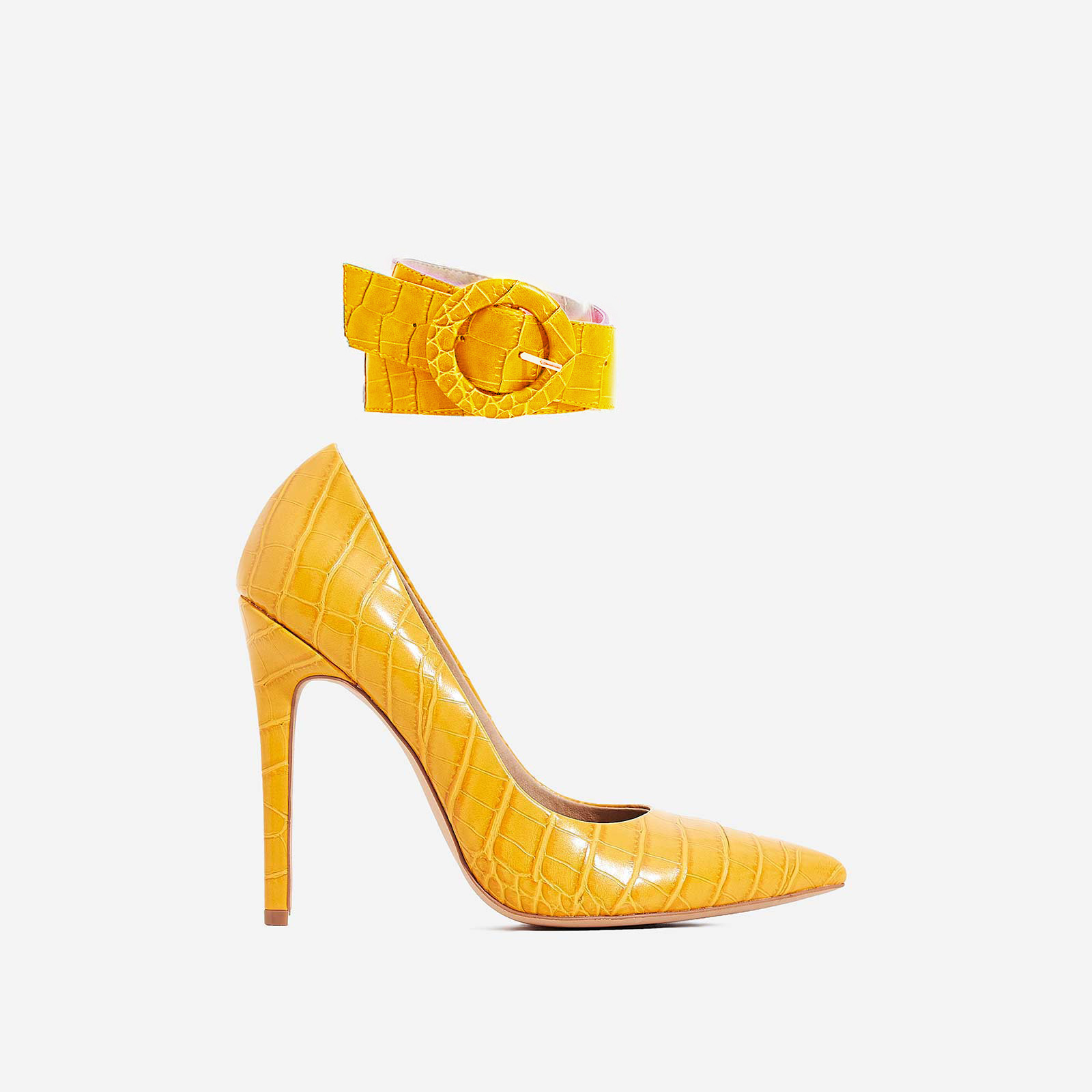 Stefano Ankle Strap Court Heel In Yellow Croc Print Faux Leather
