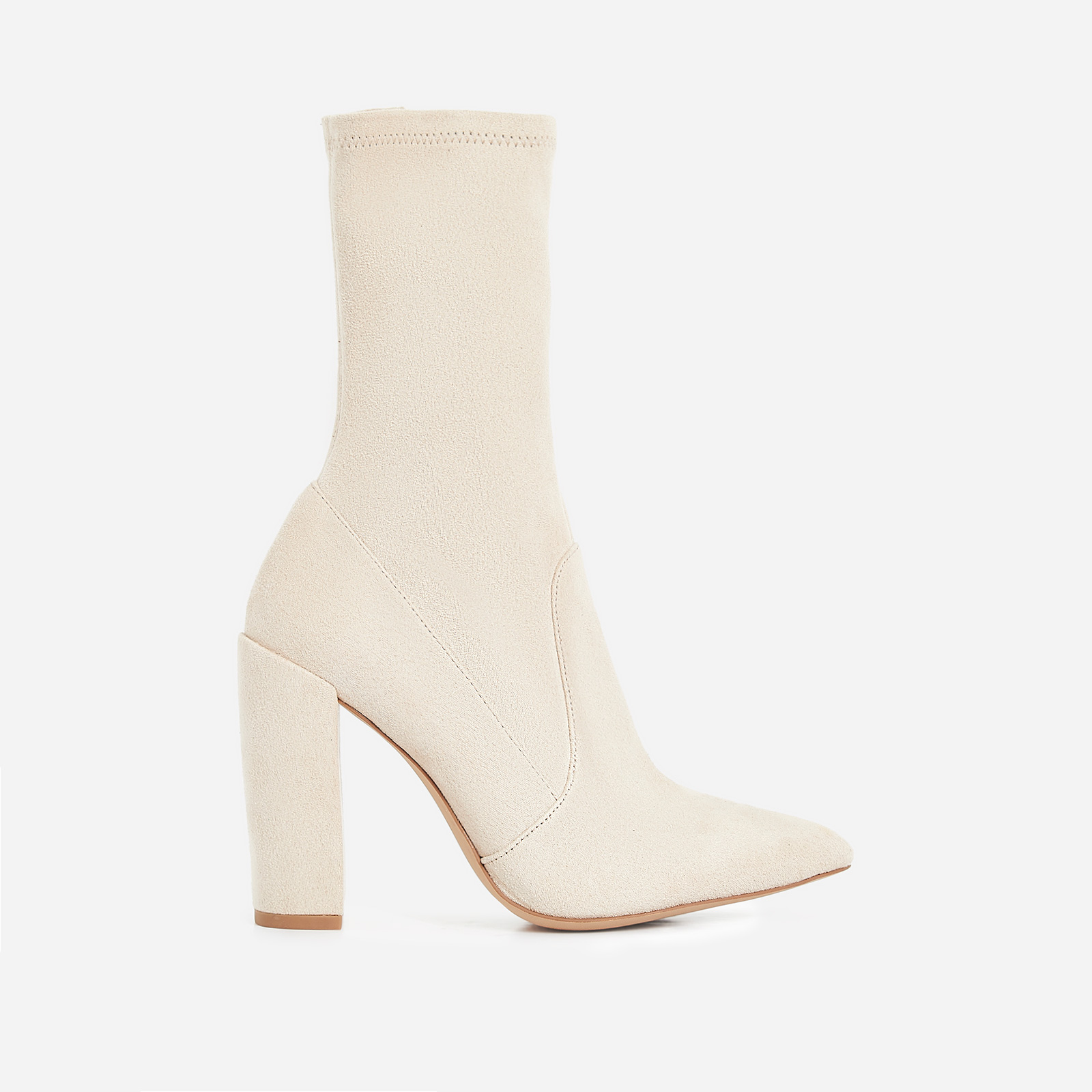 Stephanie Block Heel Ankle Sock Boot In Nude Faux Suede