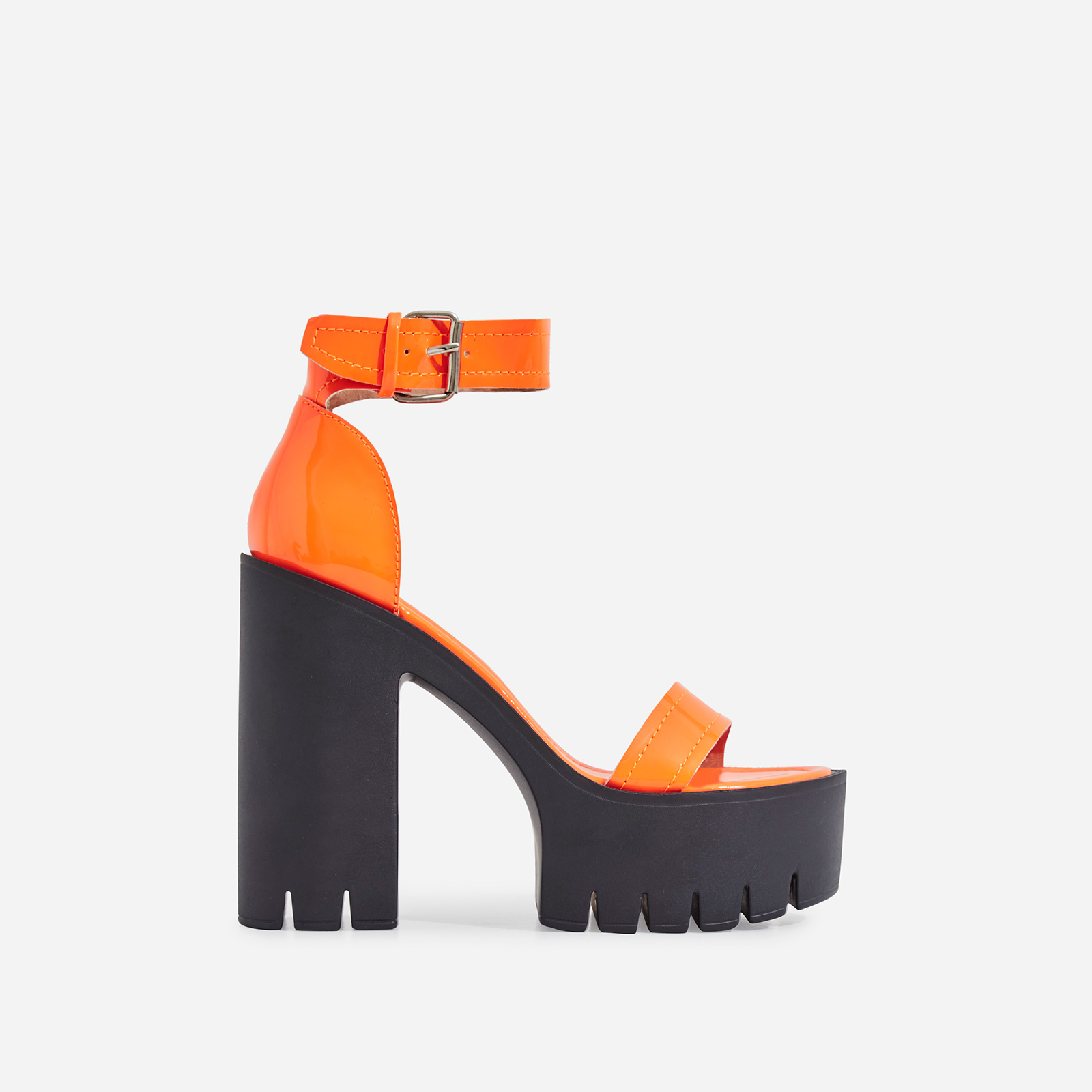 Stormi Platform Cleated Sole Block Heel In Orange Patent