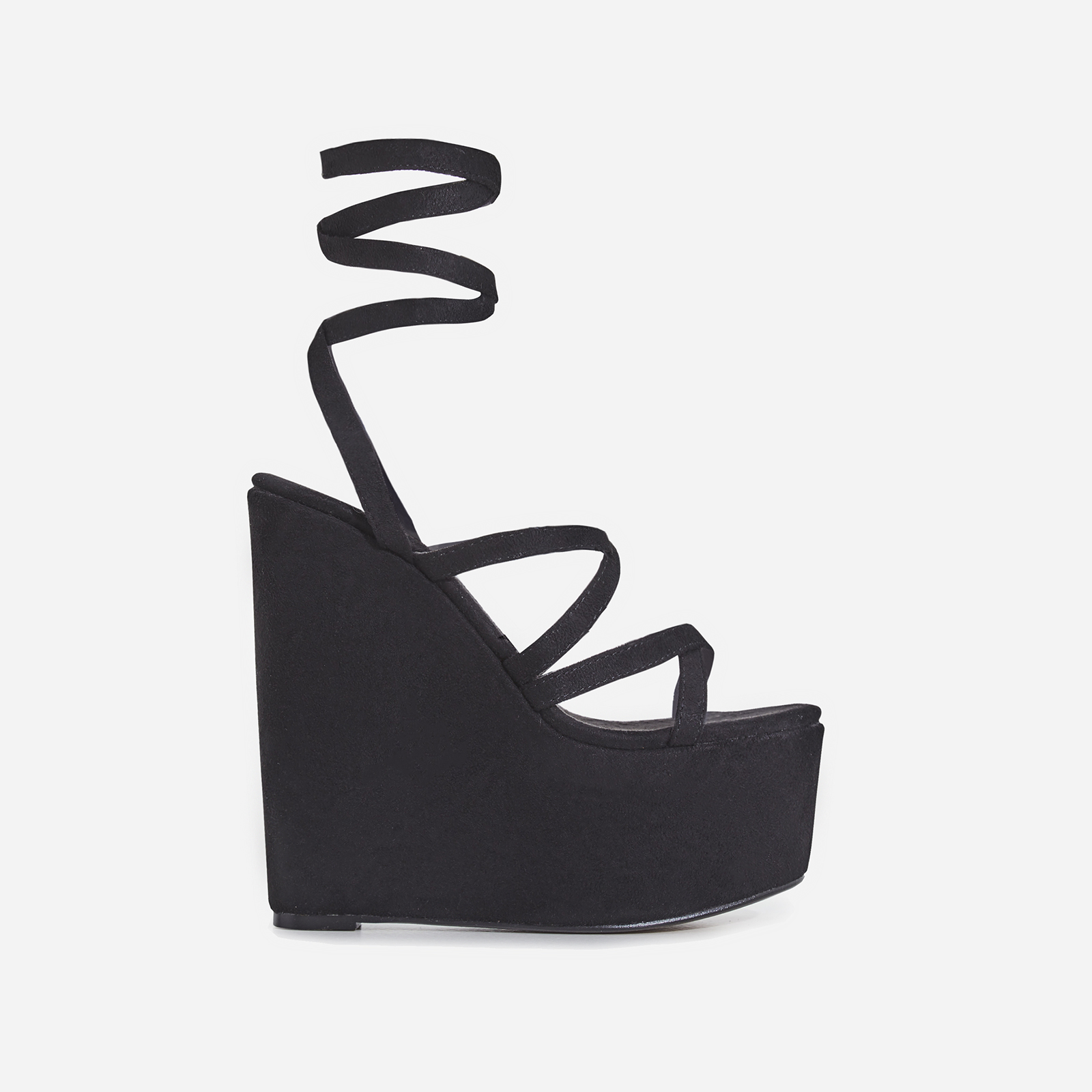 Stripped Lace Up Platform Wedge Heel In Black Faux Suede