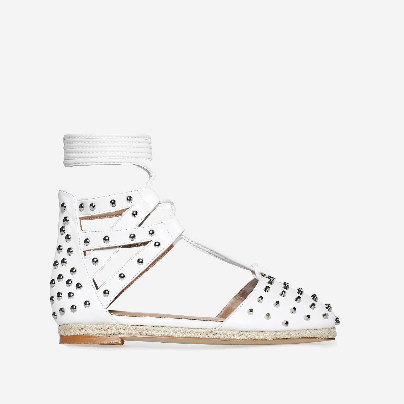 Russo Studded Detail Espadrille In White Faux Leather