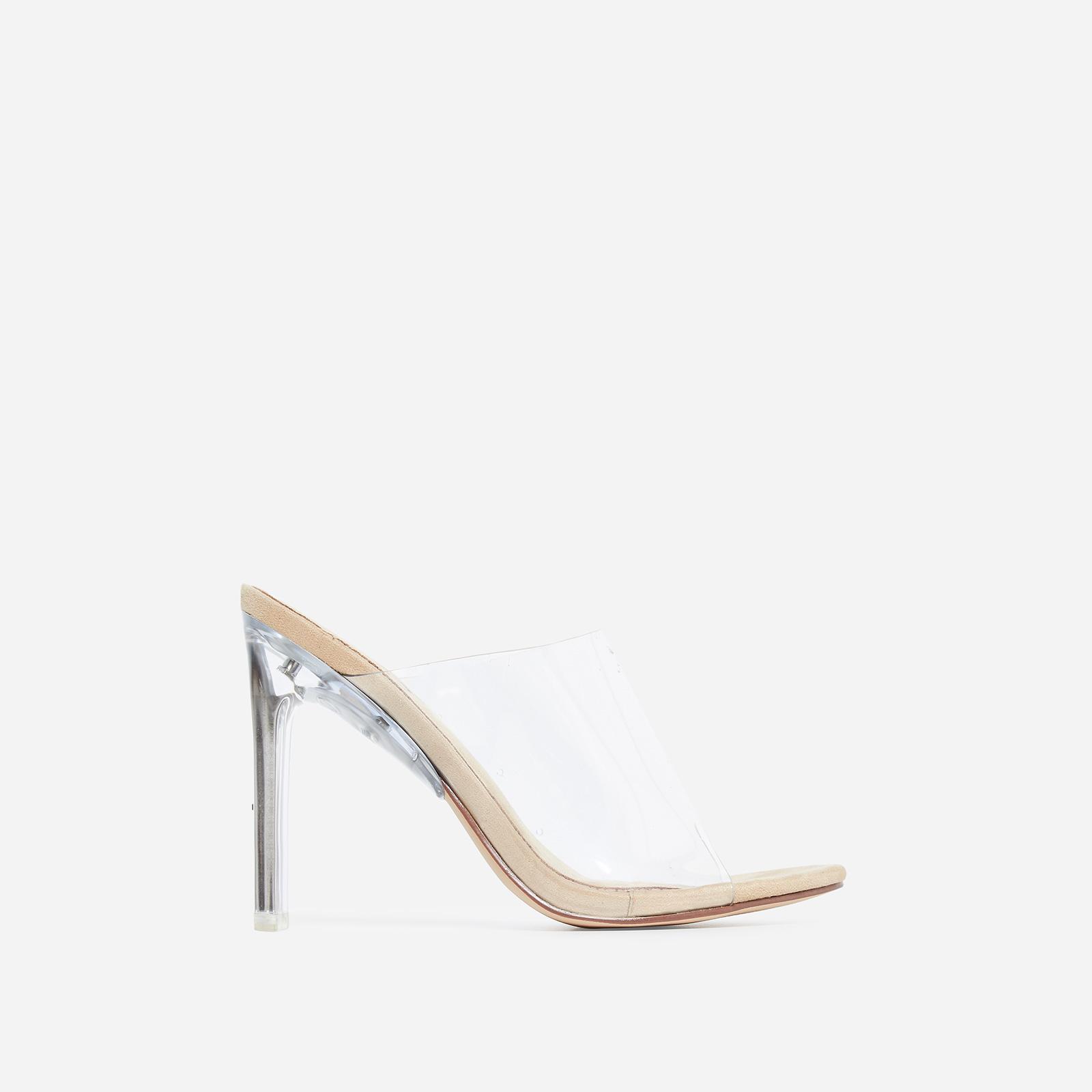Theory Peep Toe Flat Perspex Heel Mule In Nude Faux Suede