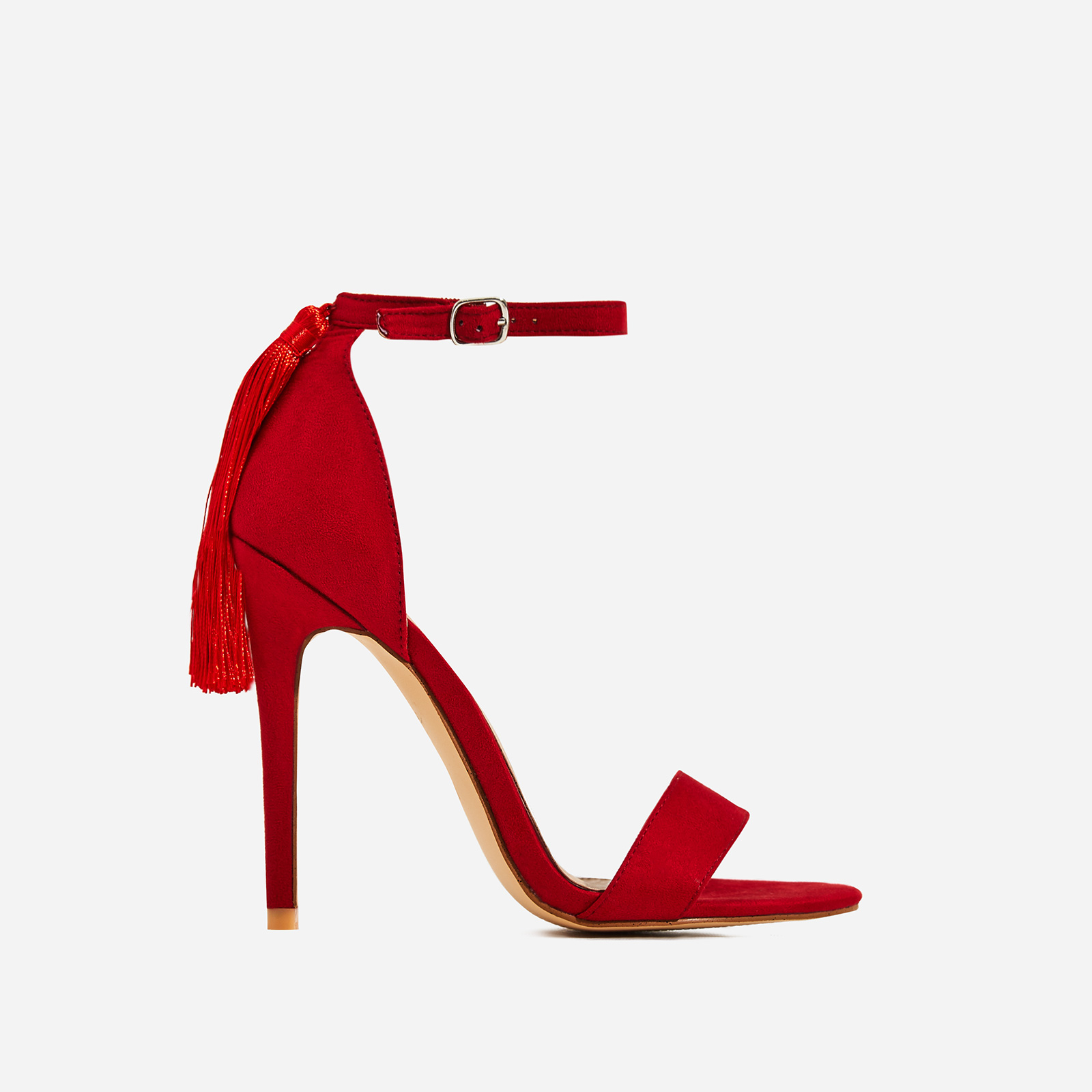 Tia Tassel Detail Barely There Heel In Red Faux Suede