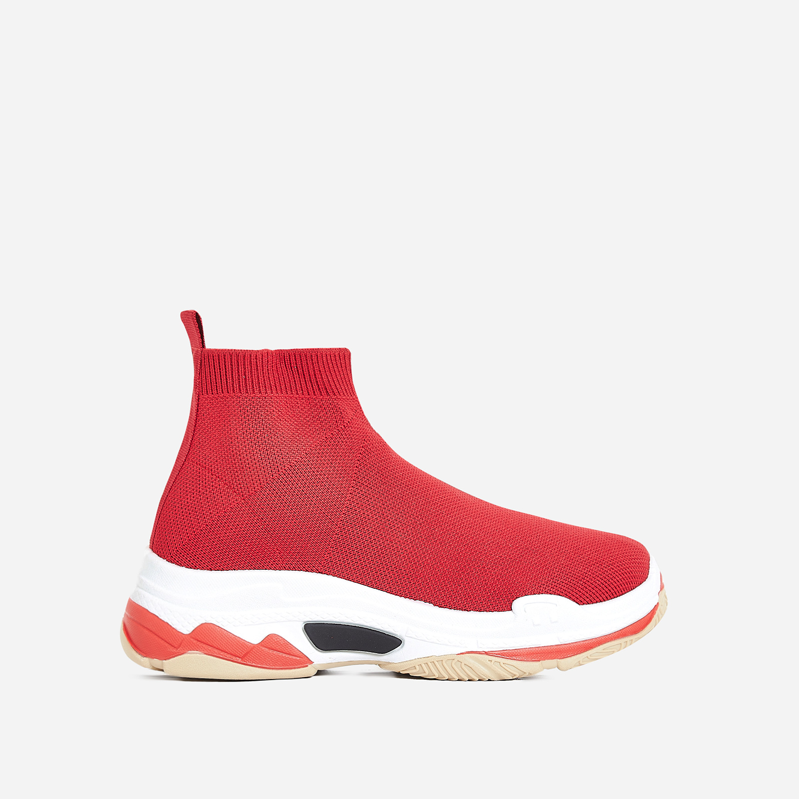 Tidal Chunky Sole Train In Red Knit