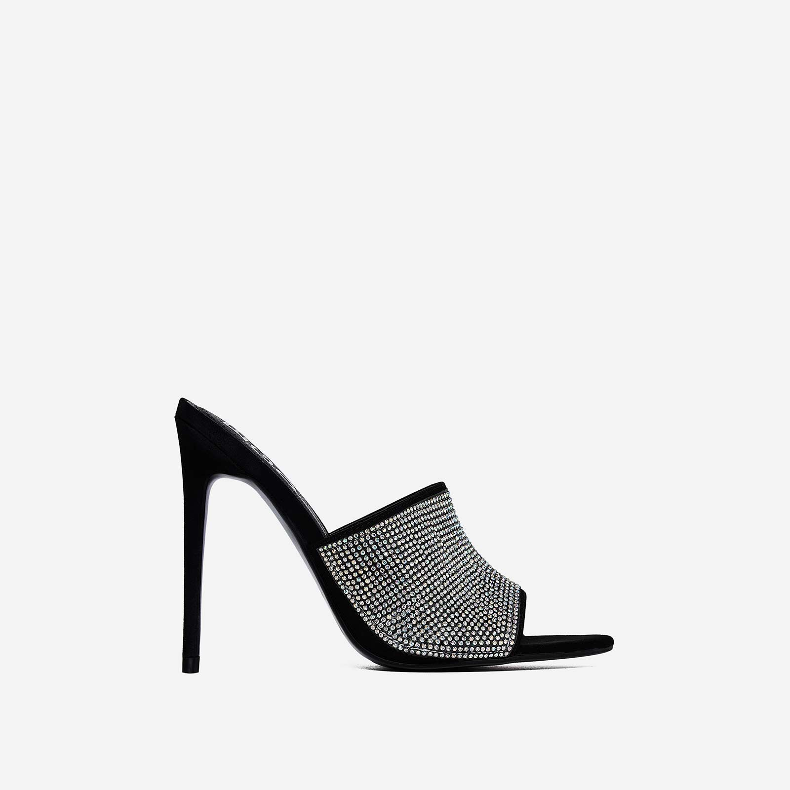 Tiffany Diamante Pointed Peep Toe Mule In Black Faux Suede