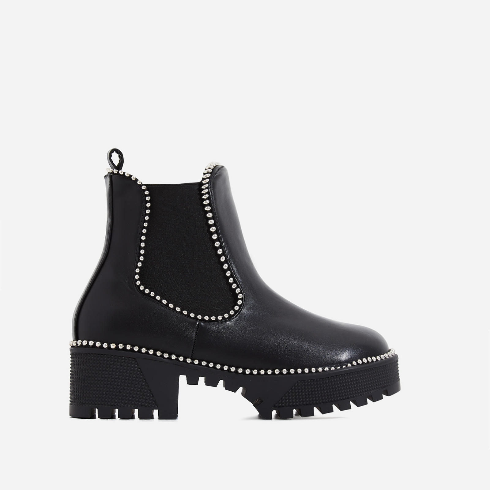 Tilda Studded Detail Ankle Boot In Black Faux Leather