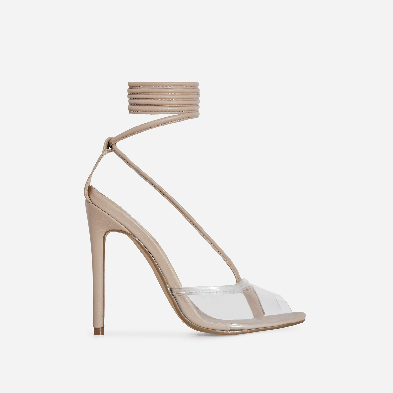 Tinder Lace Up Perspex Heel In Nude Faux Leather