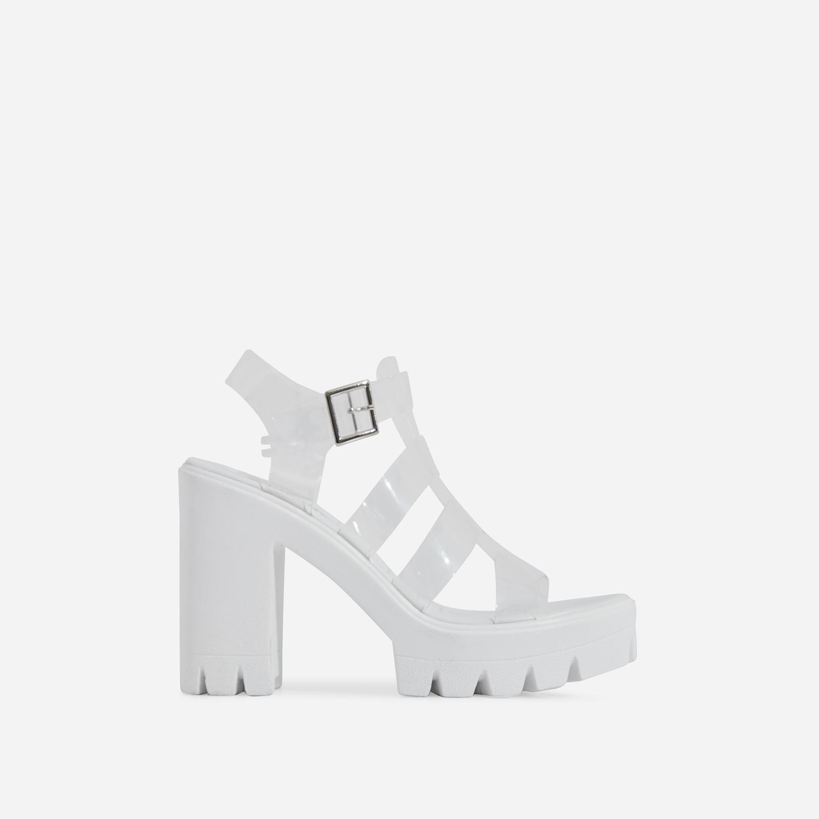 Toffee Clear Perspex Platform Block Heel In White