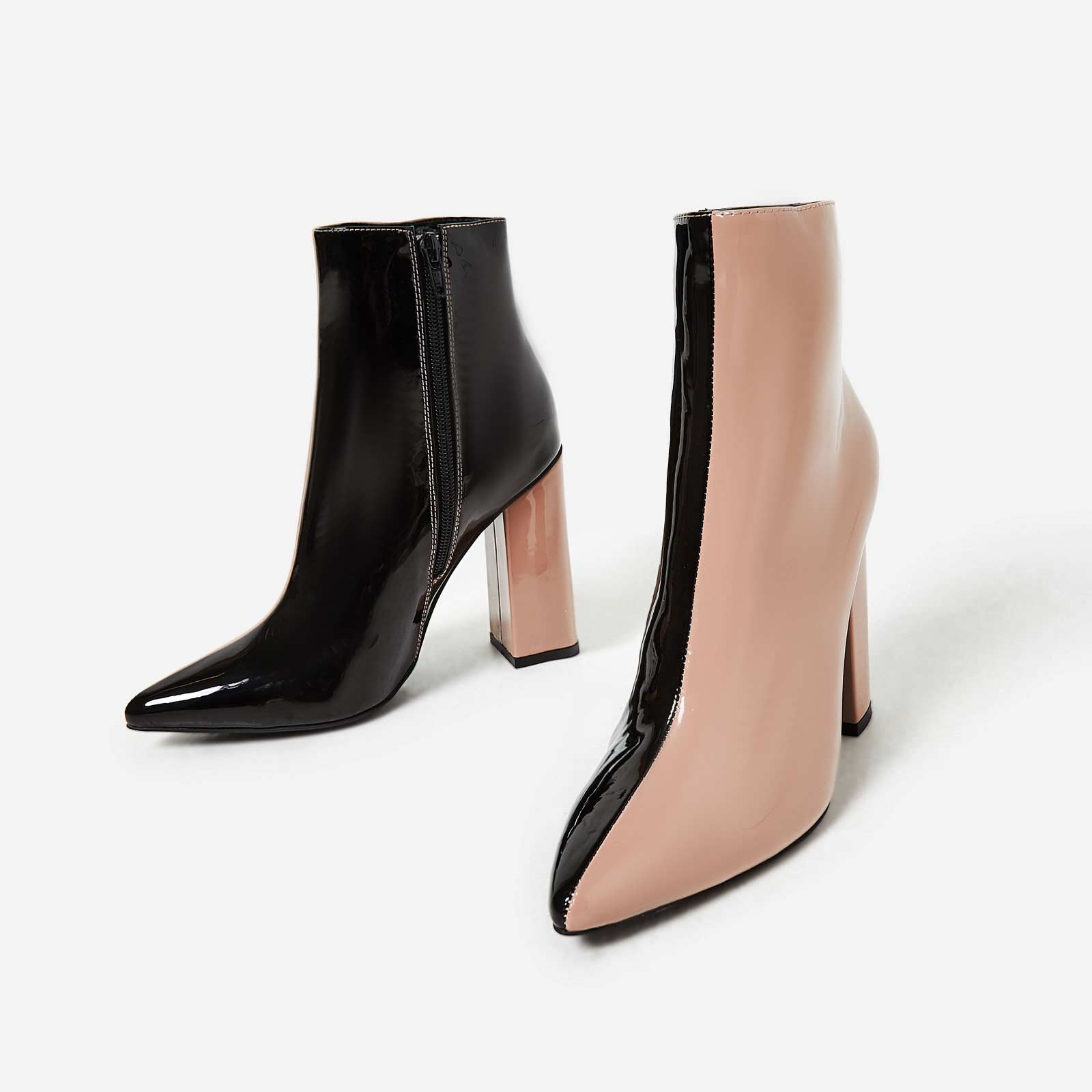 Toro Two Tone Ankle Boot In Black And Nude Patent