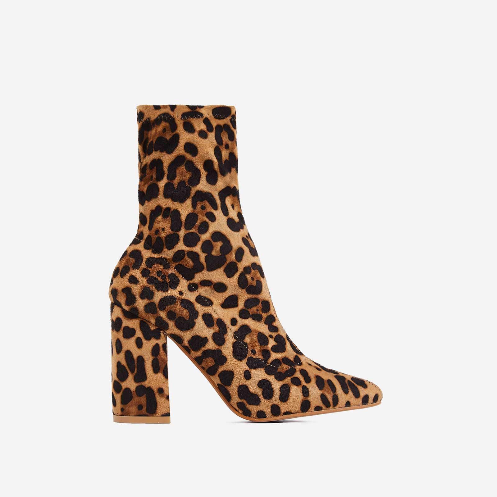 Zana Block Heel Sock Boot In Leopard Faux Suede
