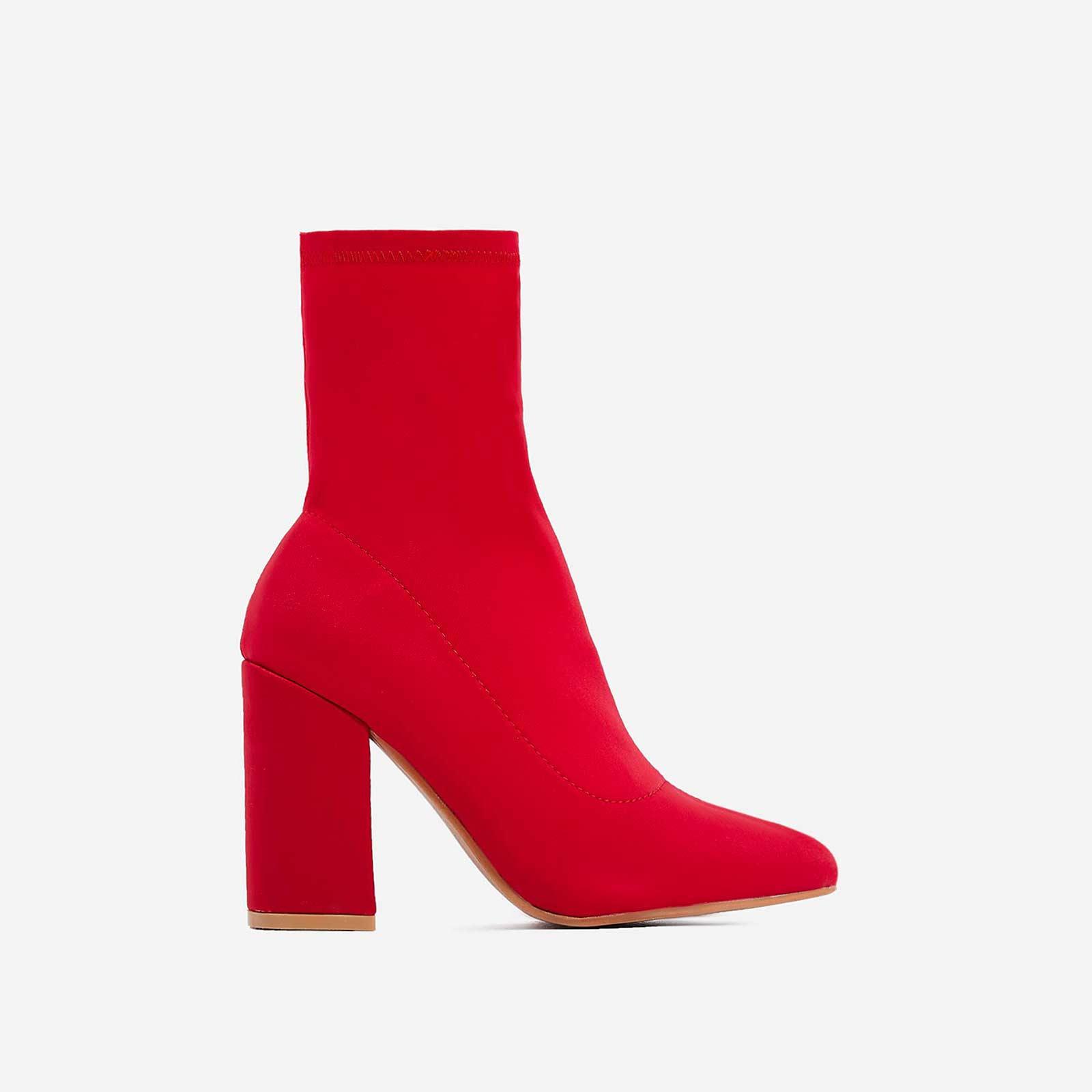 Zana Block Heel Sock Boot In Red Lycra