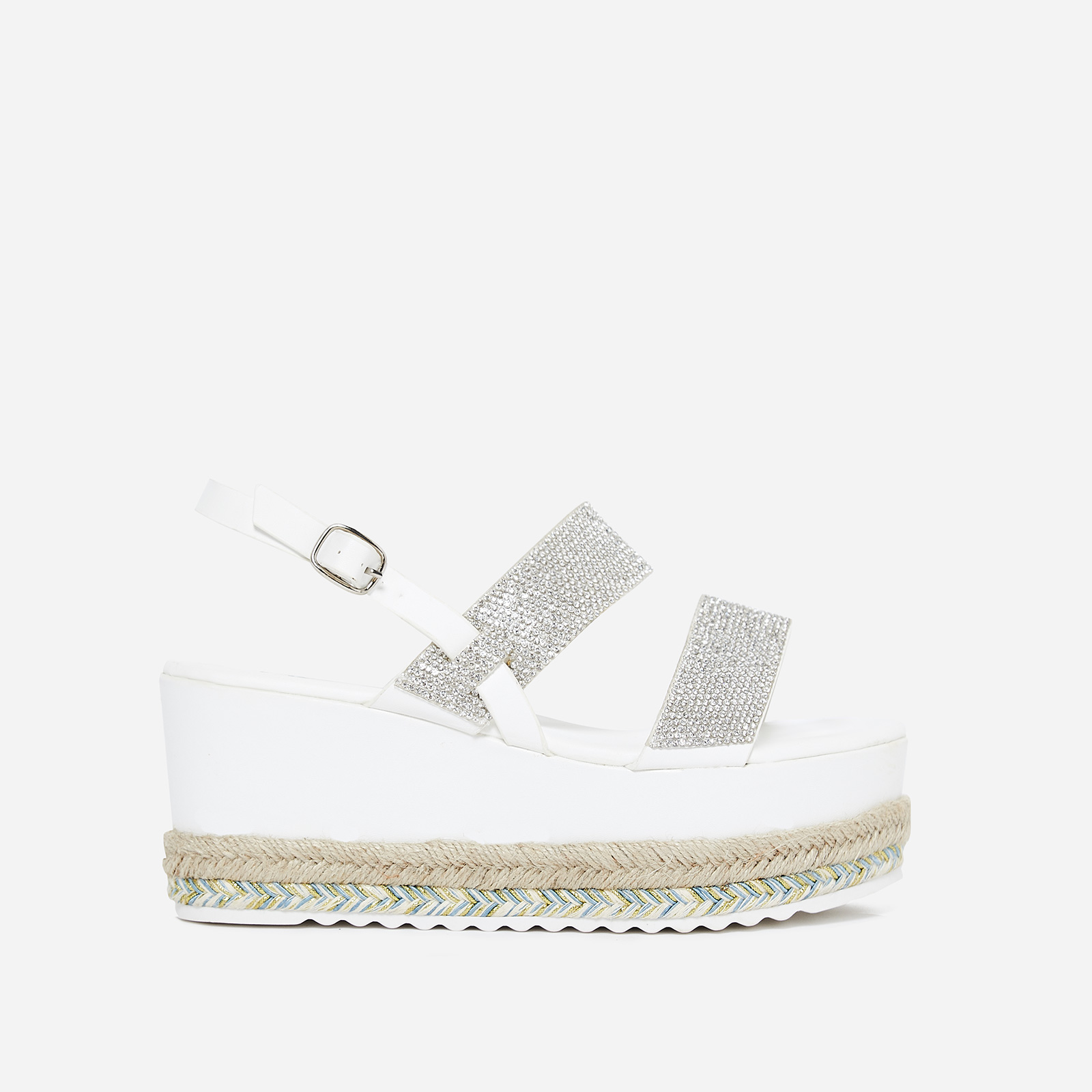 Jaina Diamante Flatform Espadrille Sandal In White Faux Leather