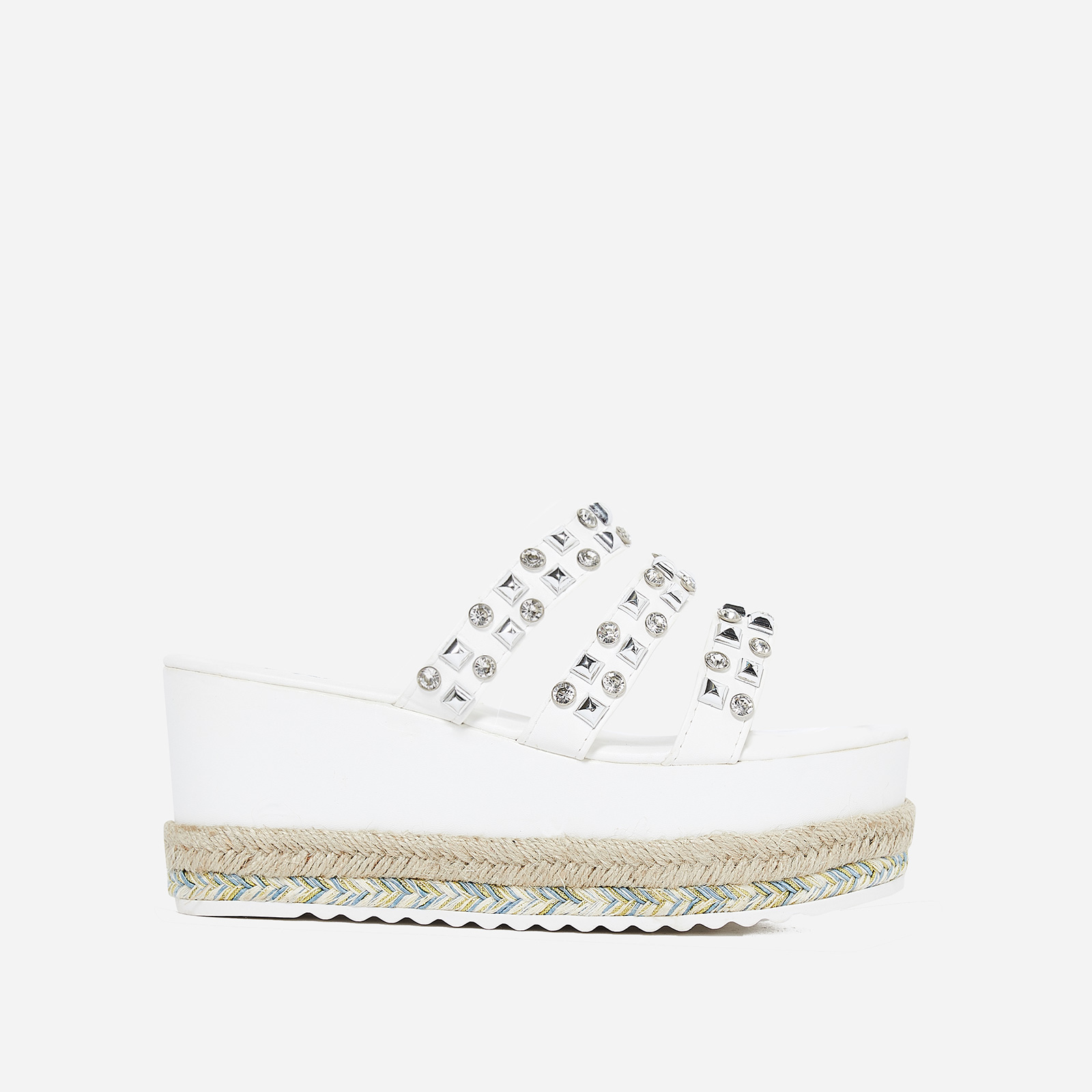 Dahlia Studded Detail Flatform Espadrille Slider In White Faux Leather
