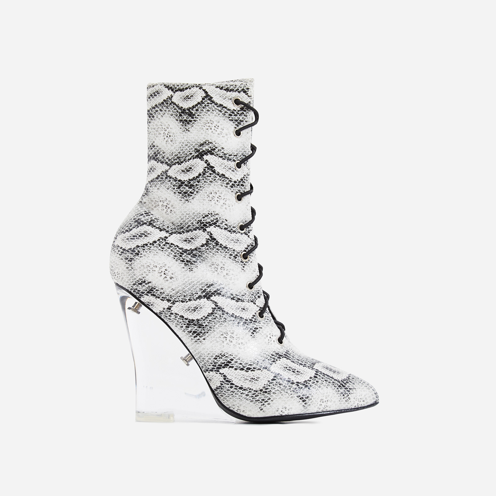 Turnaround Perspex Wedge Lace Up Ankle Boot In grey Snake Print Faux Leather