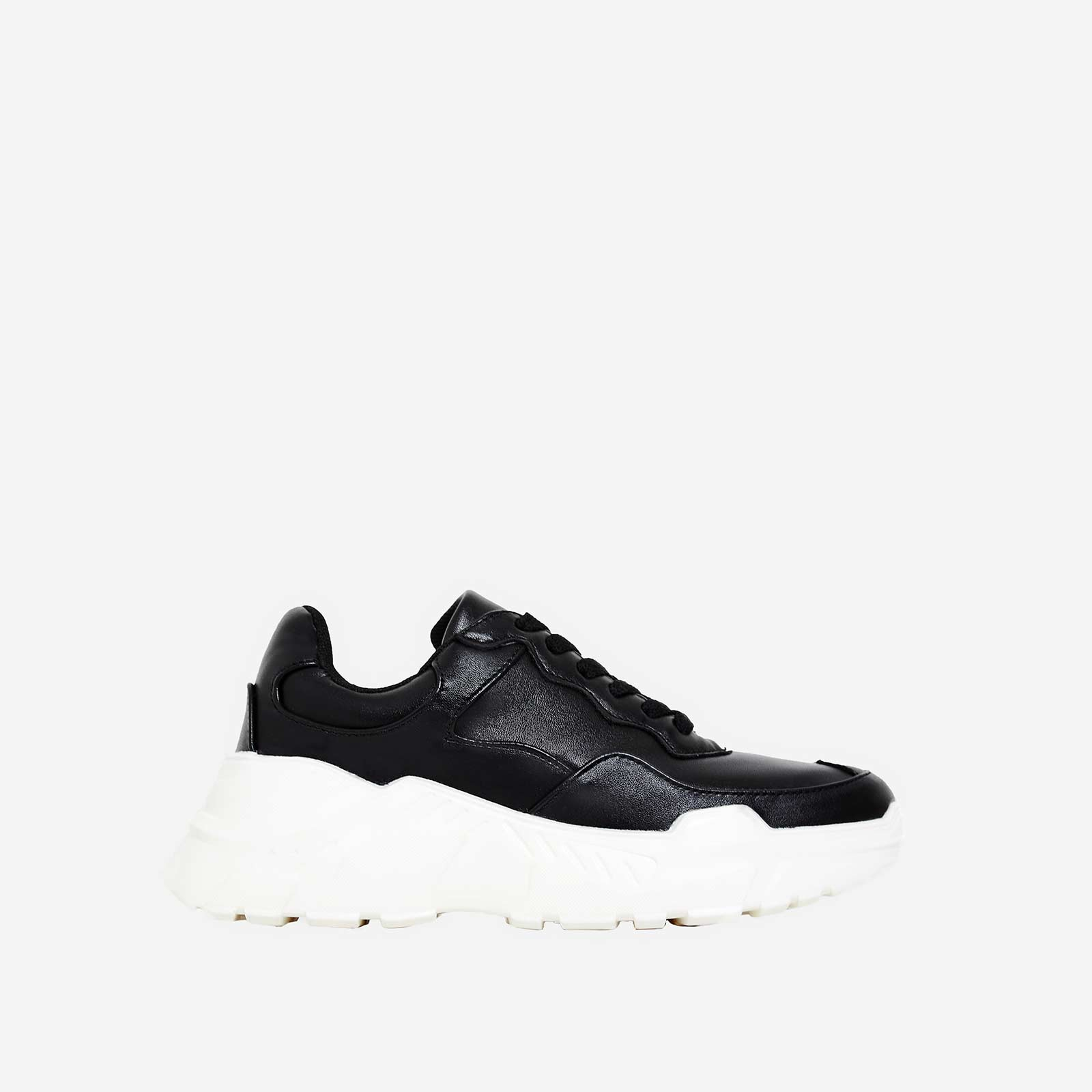 Twinky Chunky Sole Trainer In Black Faux Leather