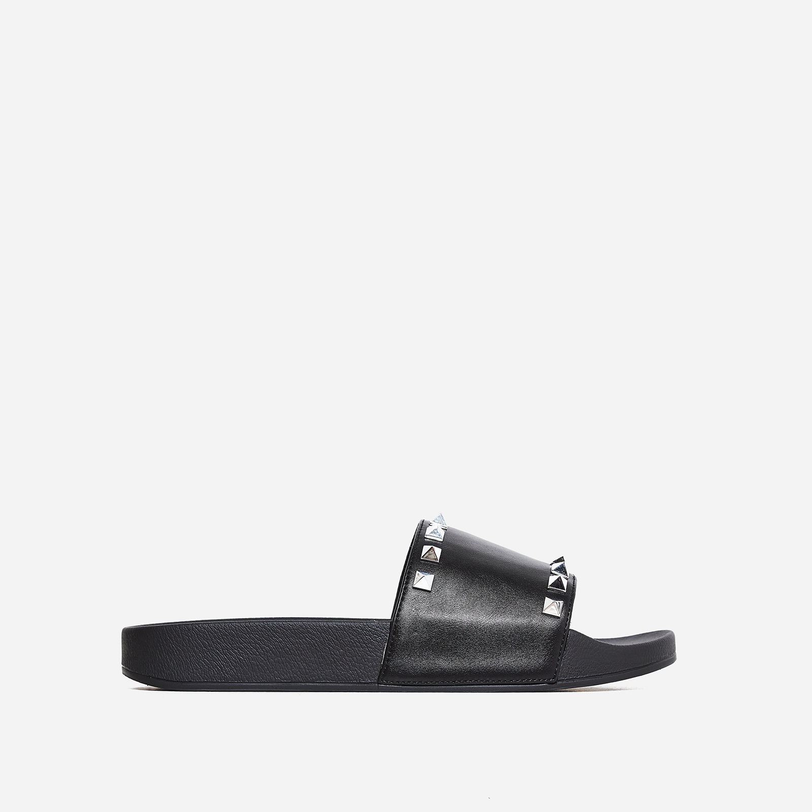 Tyga Studded Detail Slider In Black Rubber