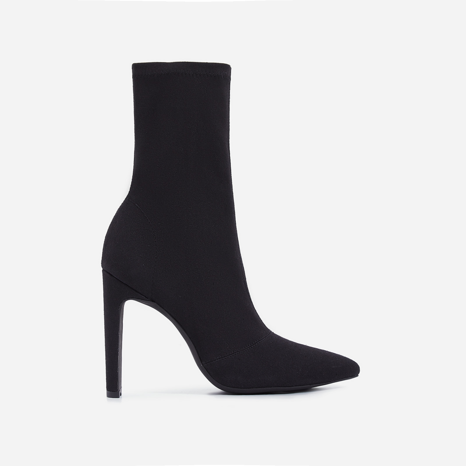 Valencia Thin Block Heel Ankle Sock Boot In Black Canvas