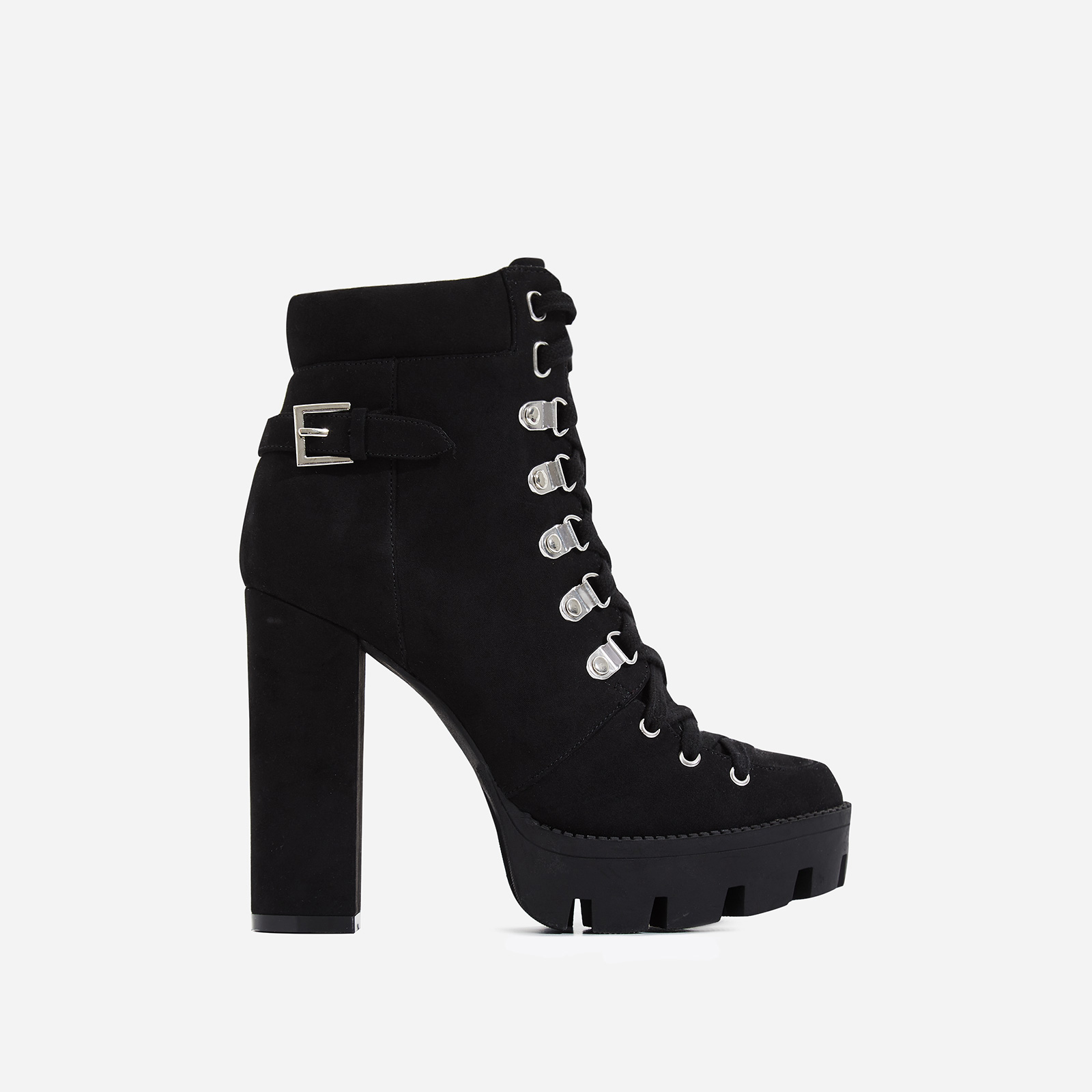 Veera Platform Ankle Biker Boot In Black Faux Suede