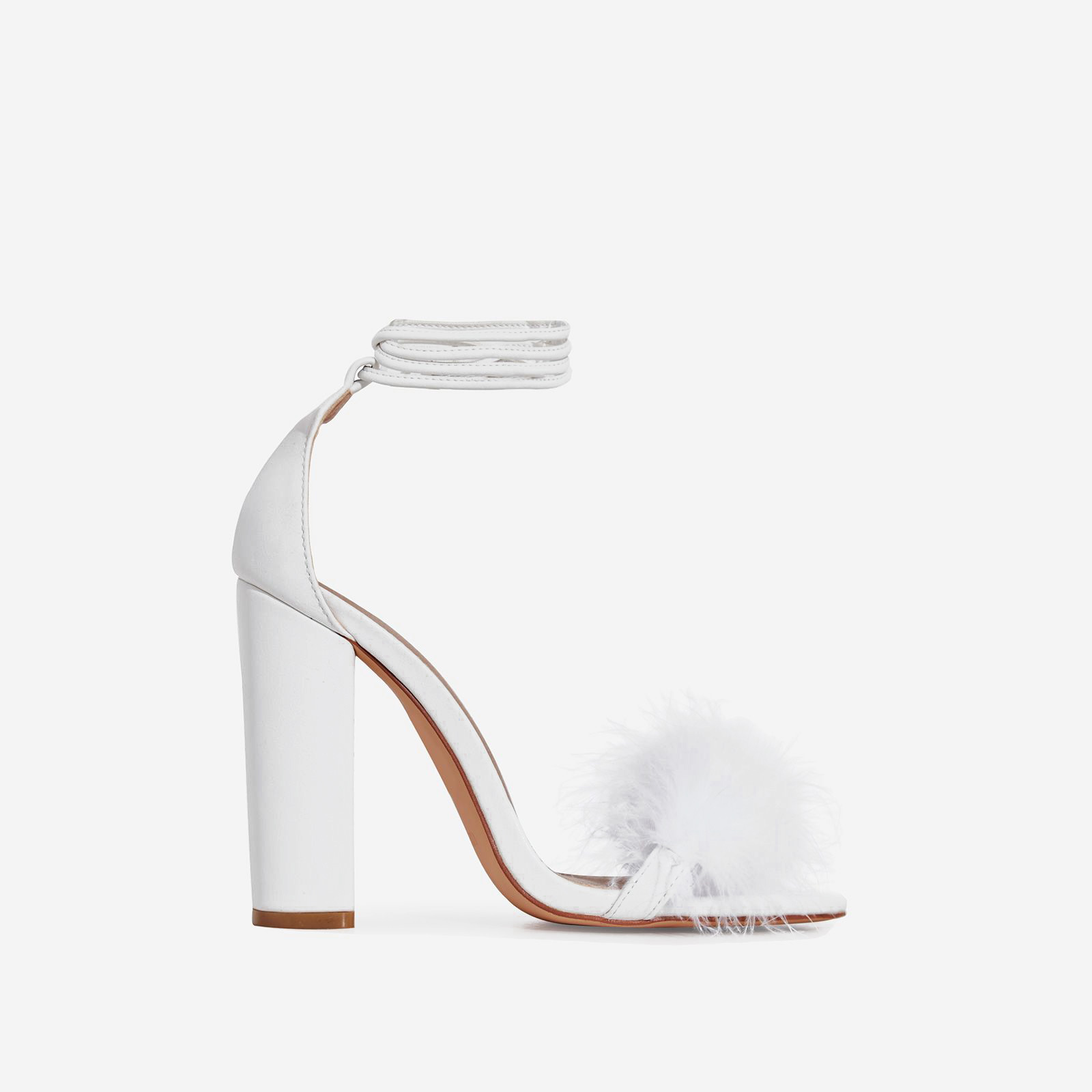 Vision Lace Up Fluffy Heel In White Faux Leather