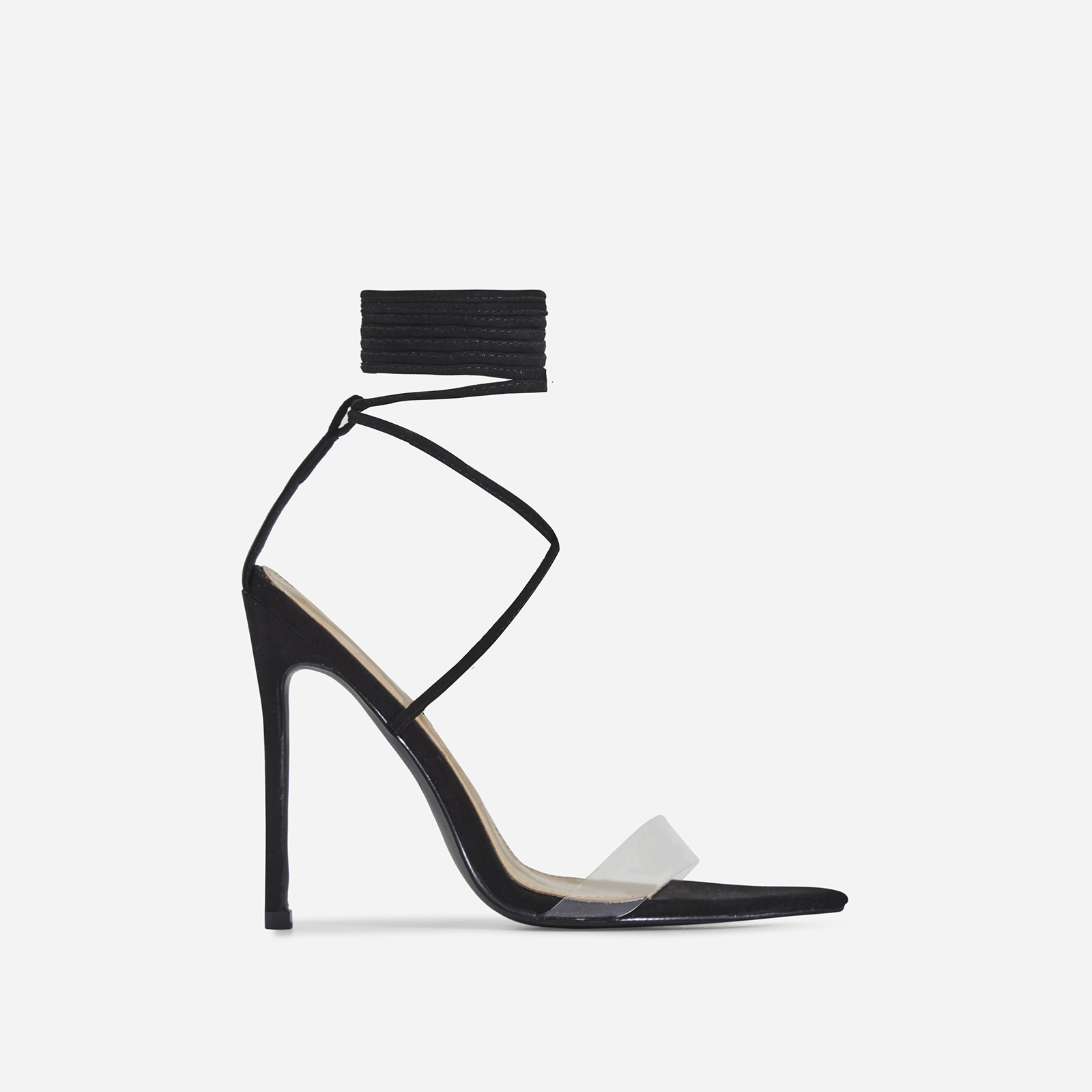 Wavey Lace Up Pointed Perspex Heel In Black Faux Suede