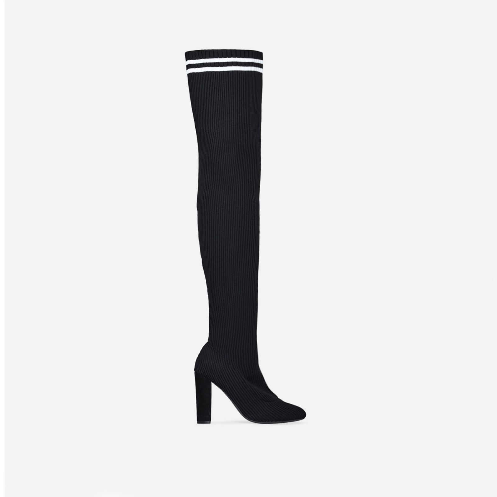 Weaver Striped Over The Knee Long Boot In Black Knit