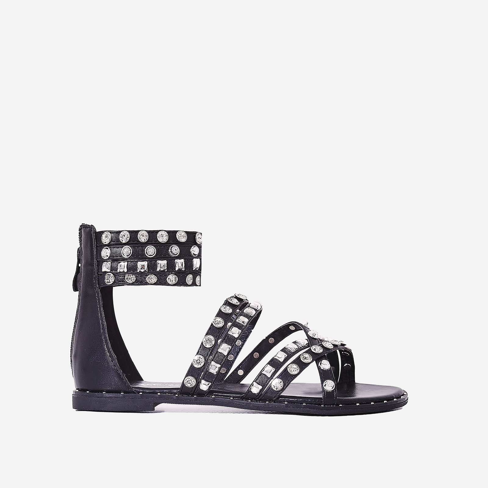 Zephyr Crystal Studded Gladiator Sandal In Black Faux Leather