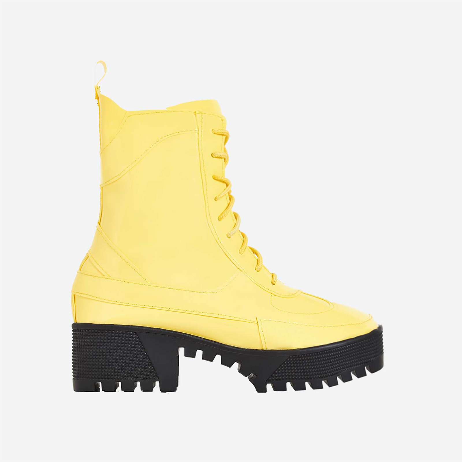 Dashing Chunky Sole Lace Up Ankle Boot In Yellow Patent
