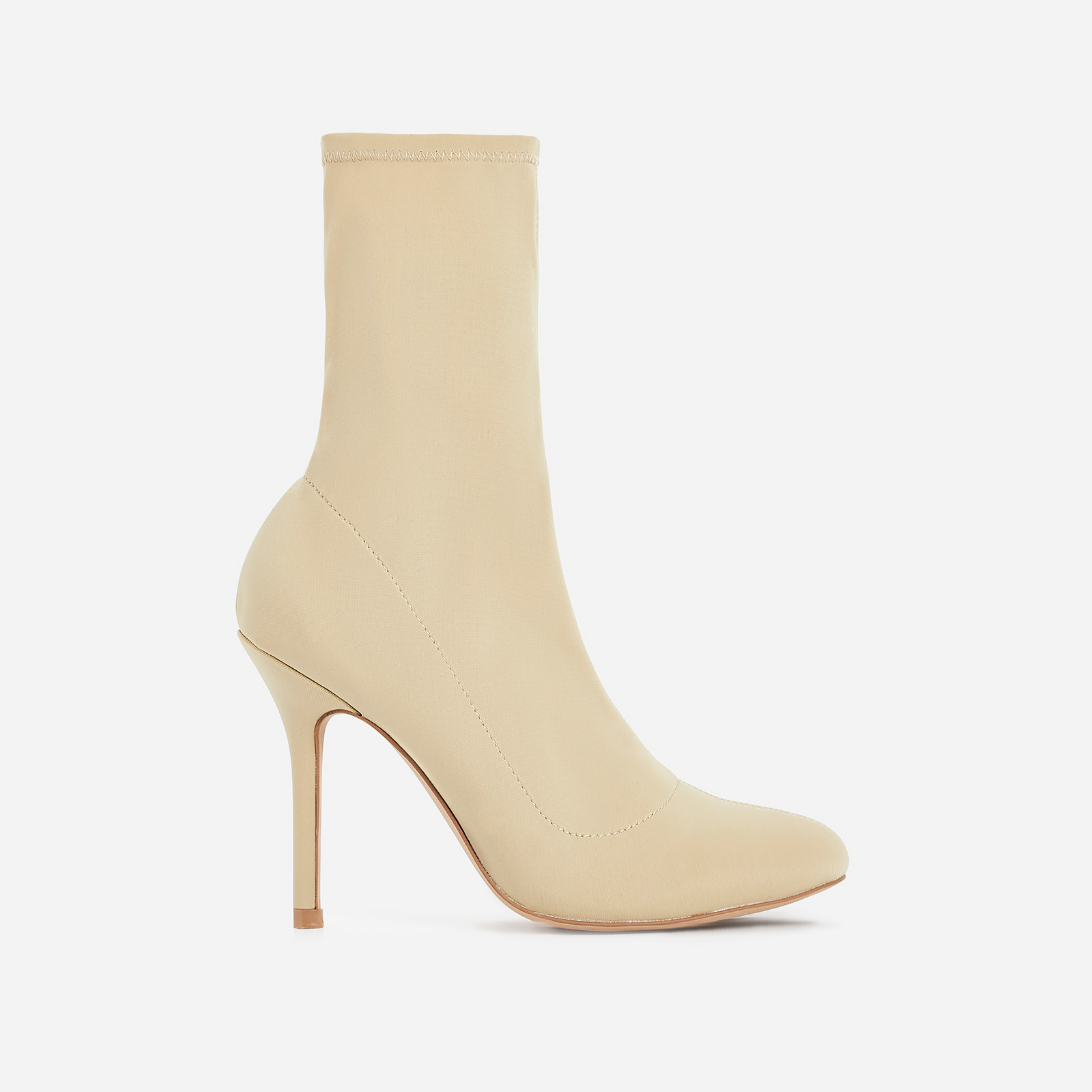 Zab Slouched Ankle Sock Boot In Nude Lycra