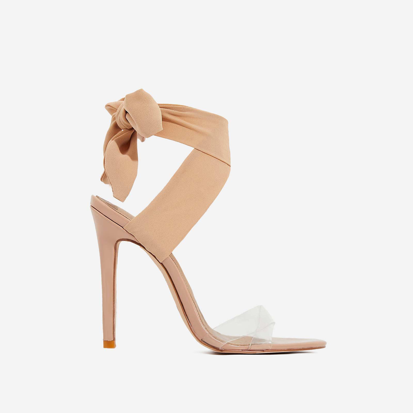 Zabi Ribbon Lace Up Perspex Heel In Nude Pat