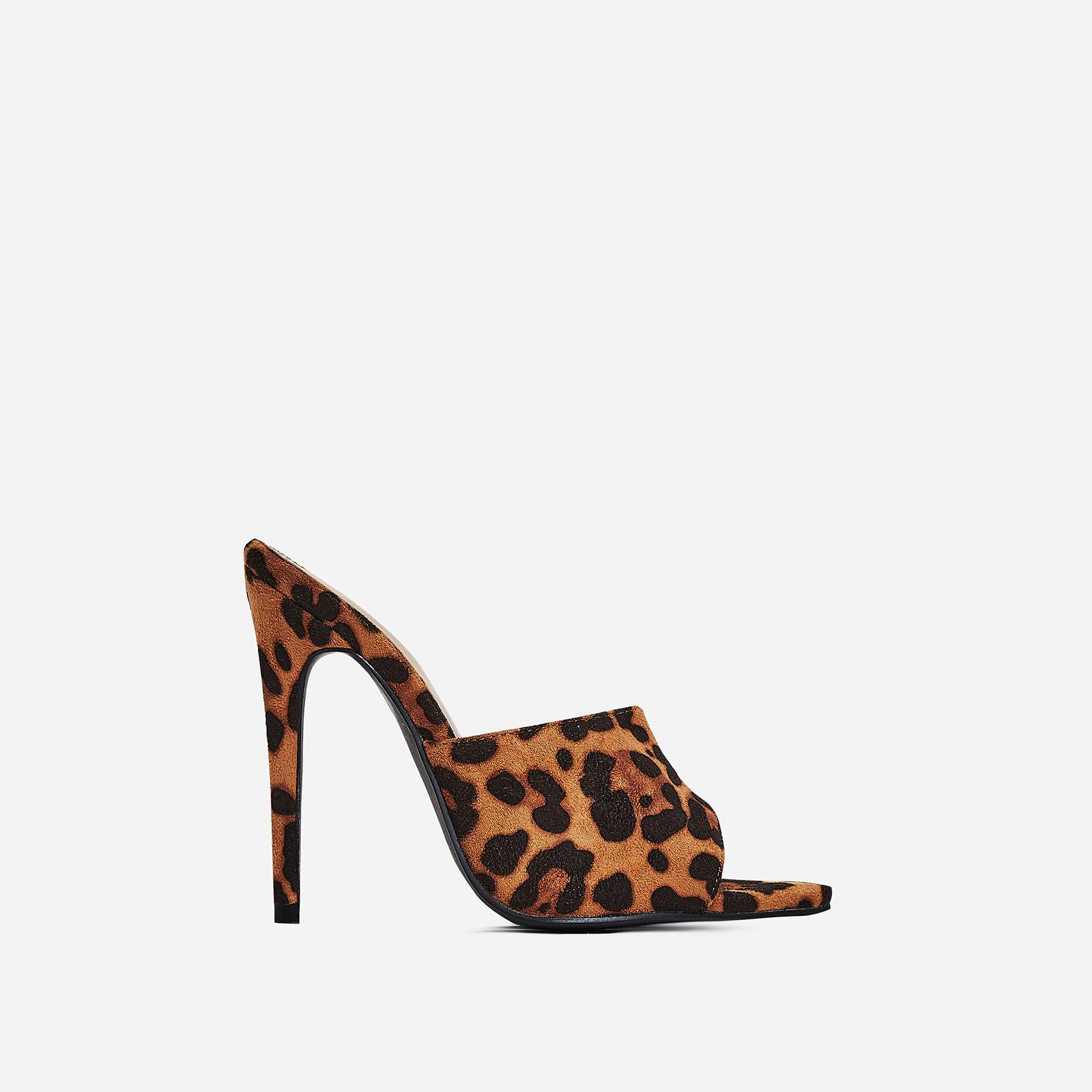 Zadie Pointed Peep Toe Heel Mule In Tan Leopard Print Faux Suede